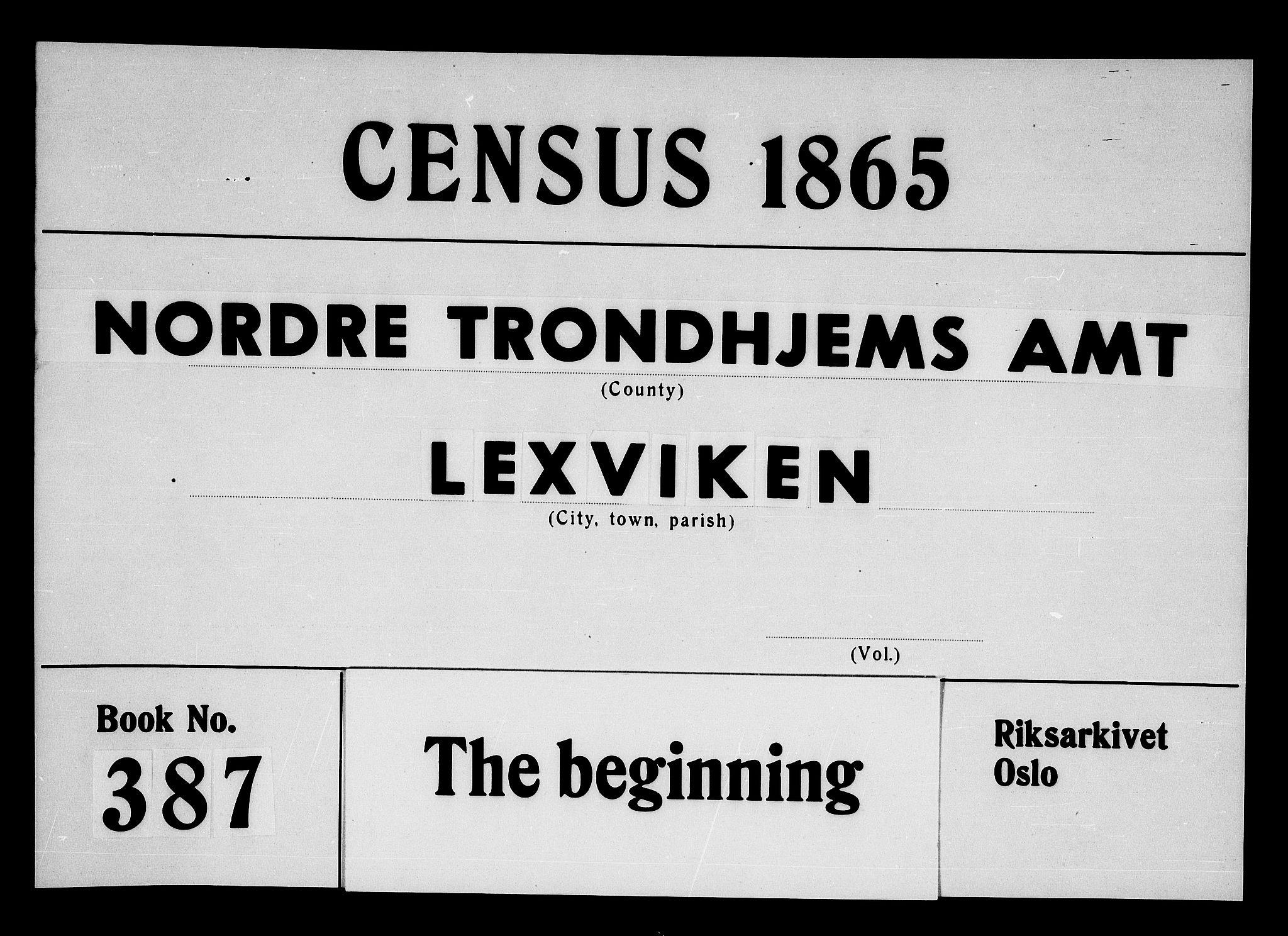 RA, Folketelling 1865 for 1718P Leksvik prestegjeld, 1865, s. 1
