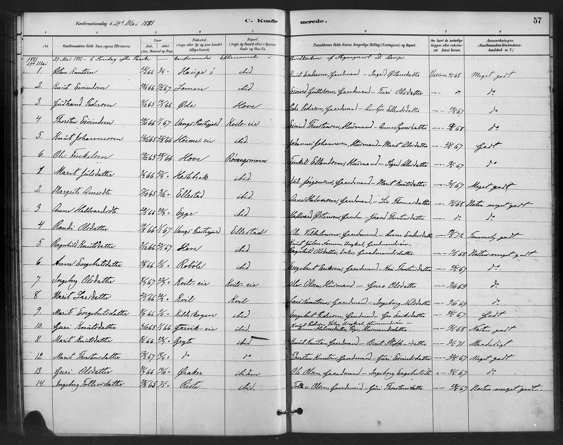 SAH, Vestre Slidre prestekontor, Klokkerbok nr. 6, 1881-1915, s. 57