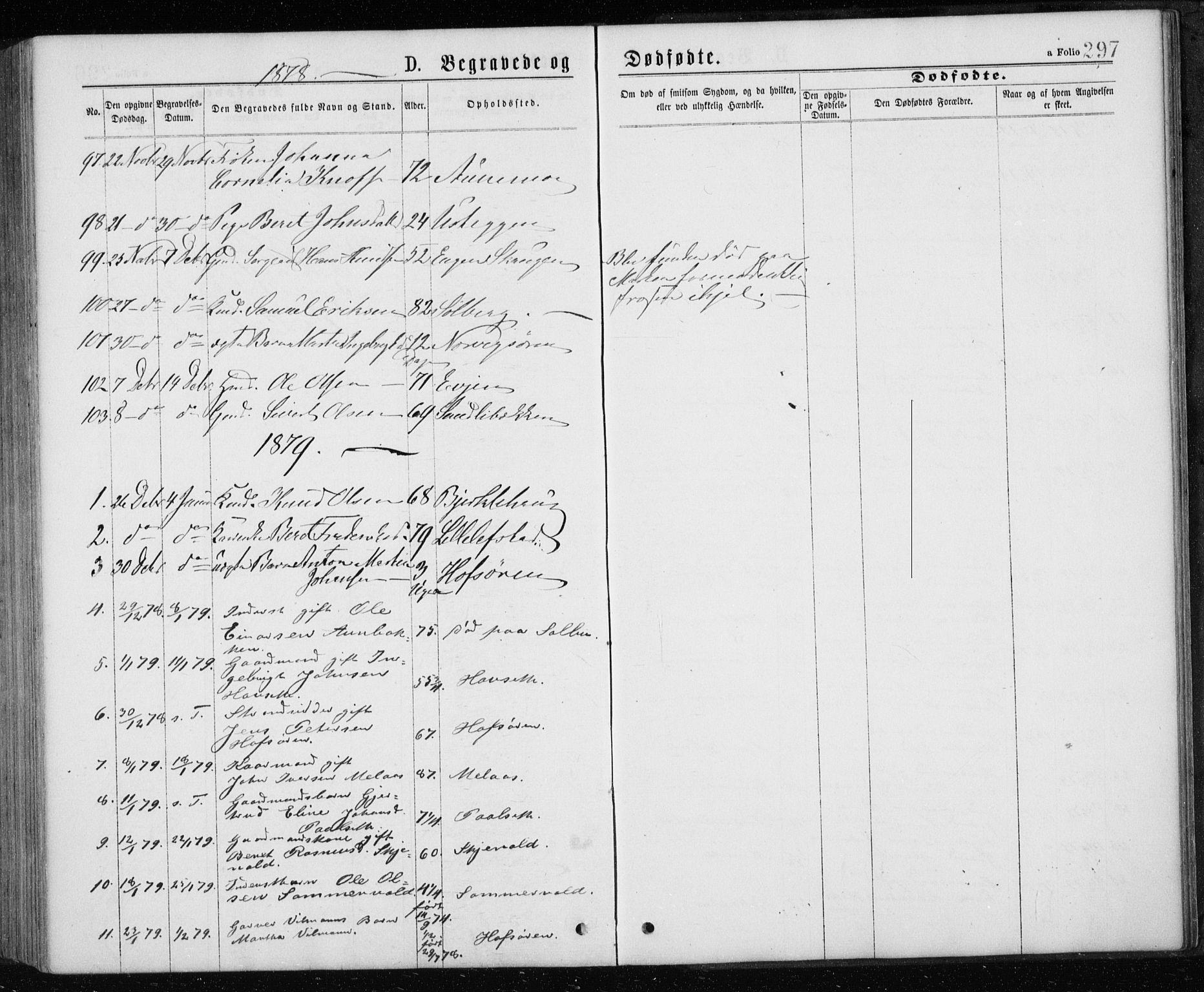 SAT, Ministerialprotokoller, klokkerbøker og fødselsregistre - Sør-Trøndelag, 668/L0817: Klokkerbok nr. 668C06, 1873-1884, s. 297