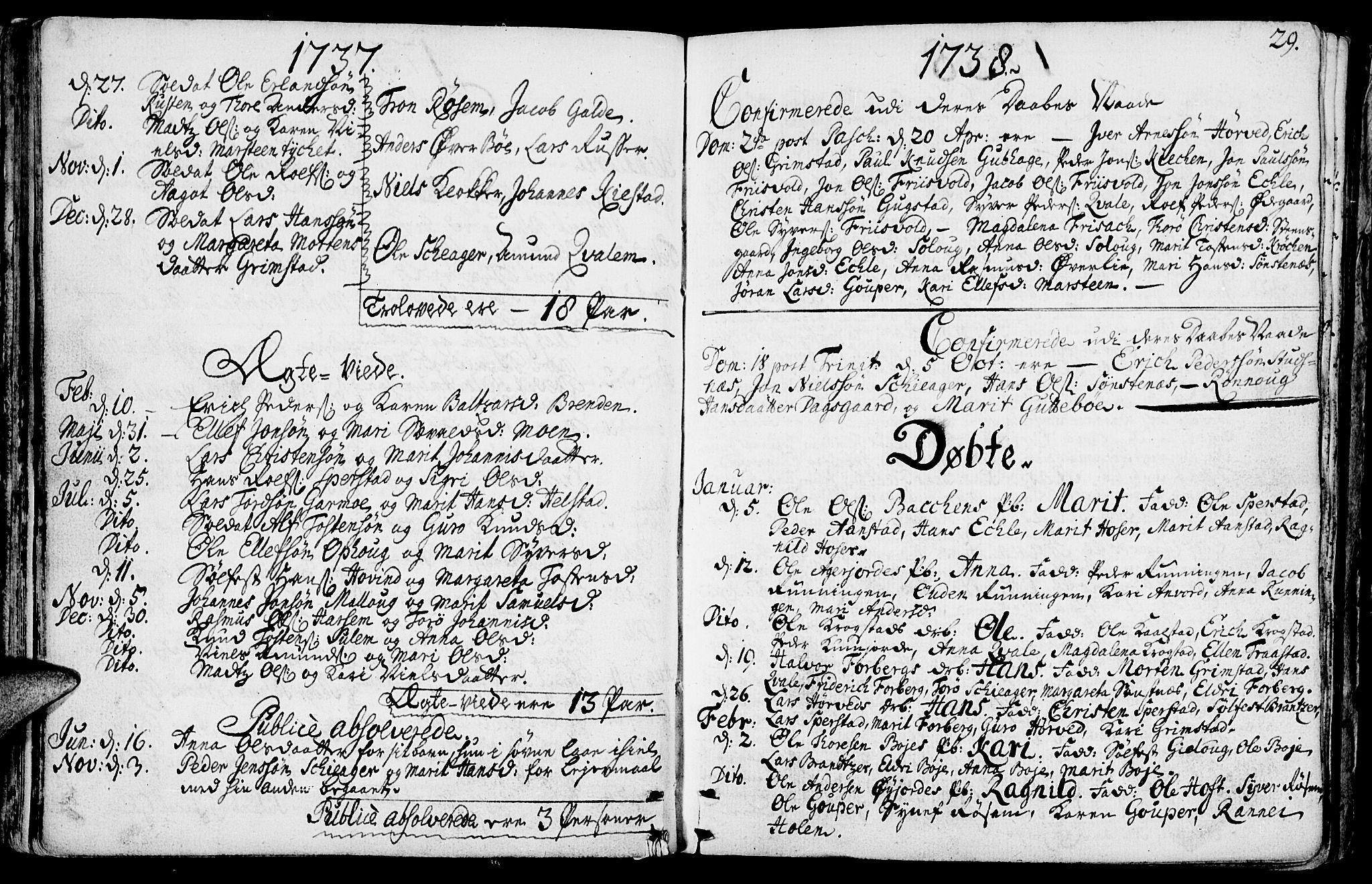 SAH, Lom prestekontor, K/L0001: Ministerialbok nr. 1, 1733-1748, s. 29