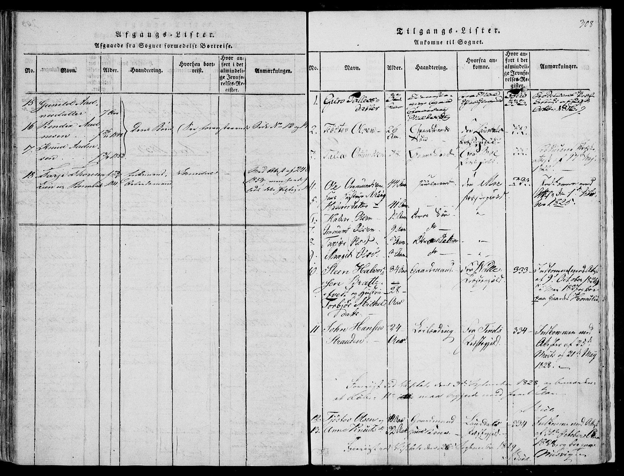 SAKO, Fyresdal kirkebøker, F/Fa/L0004: Ministerialbok nr. I 4, 1815-1854, s. 308