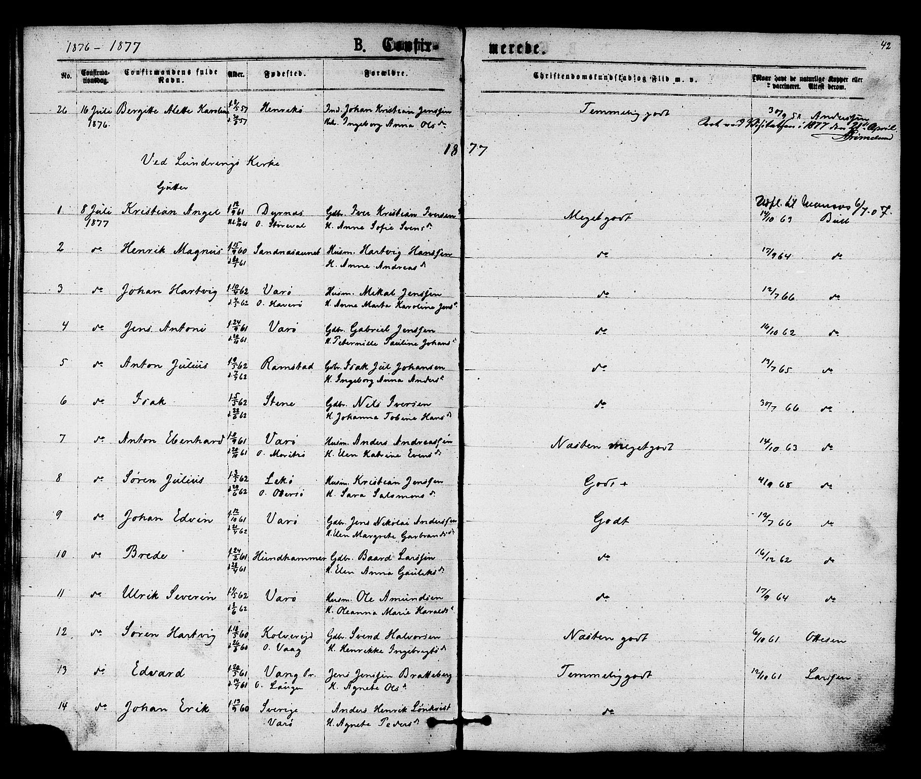 SAT, Ministerialprotokoller, klokkerbøker og fødselsregistre - Nord-Trøndelag, 784/L0671: Ministerialbok nr. 784A06, 1876-1879, s. 42