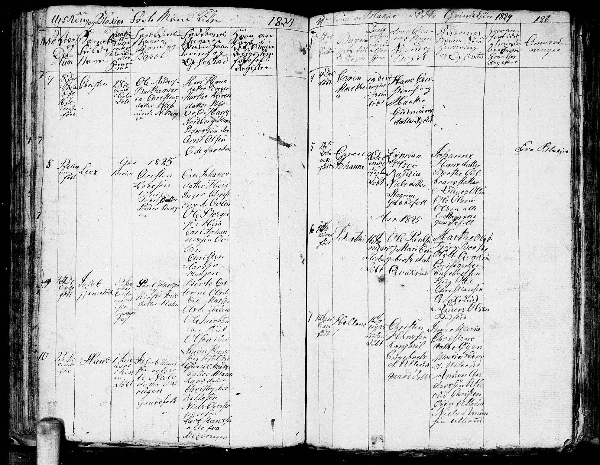 SAO, Aurskog prestekontor Kirkebøker, G/Ga/L0001: Klokkerbok nr. I 1, 1814-1829, s. 126