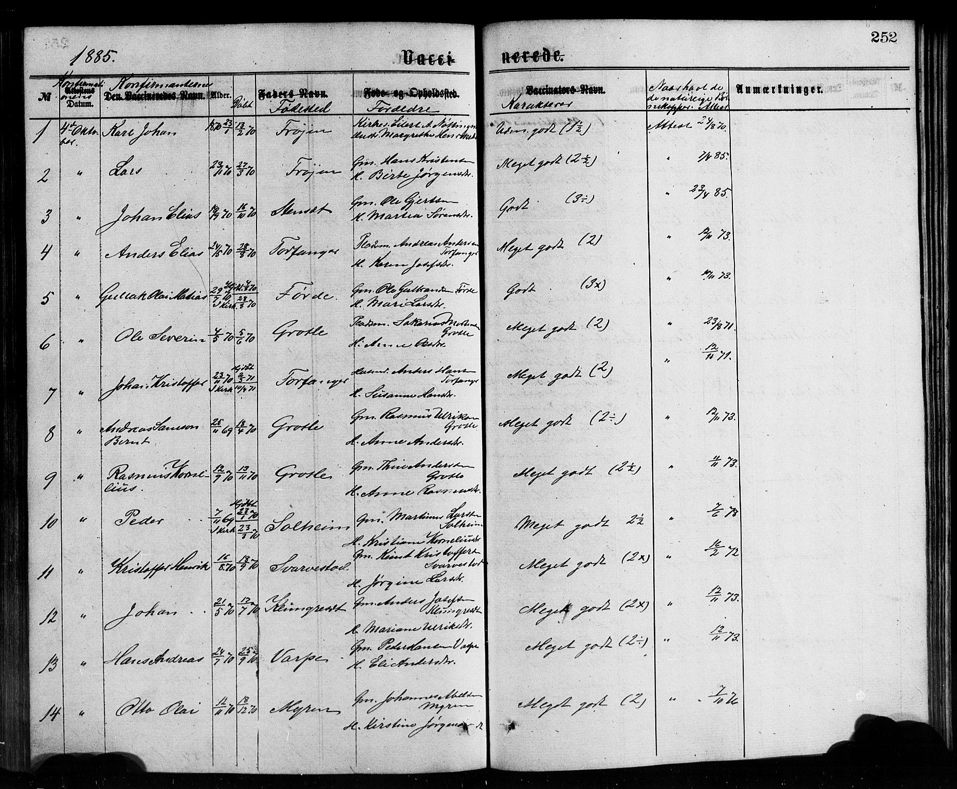 SAB, Bremanger Sokneprestembete, H/Hab: Klokkerbok nr. A 2, 1866-1889, s. 252