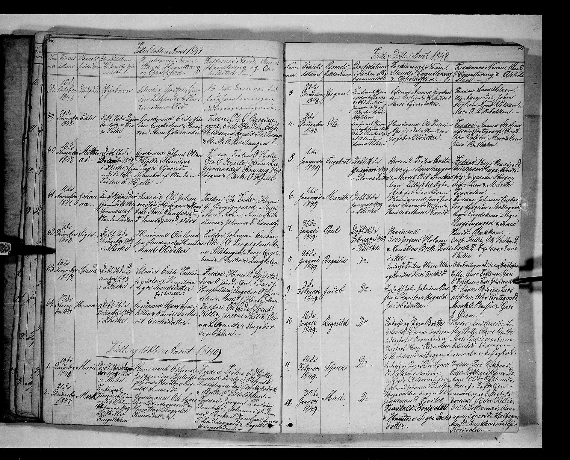 SAH, Lesja prestekontor, Klokkerbok nr. 3, 1842-1862, s. 46-47