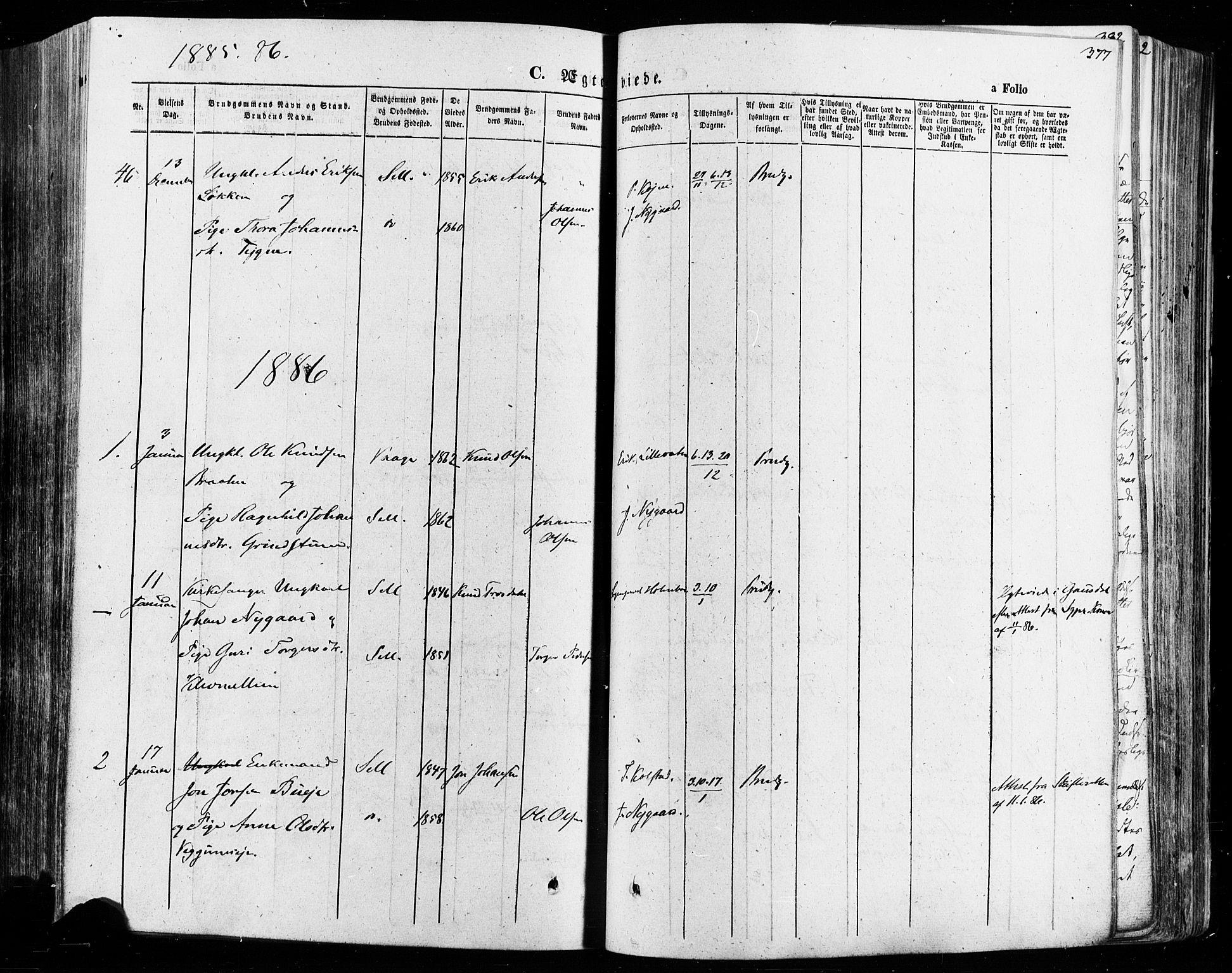 SAH, Vågå prestekontor, Ministerialbok nr. 7 /1, 1872-1886, s. 377