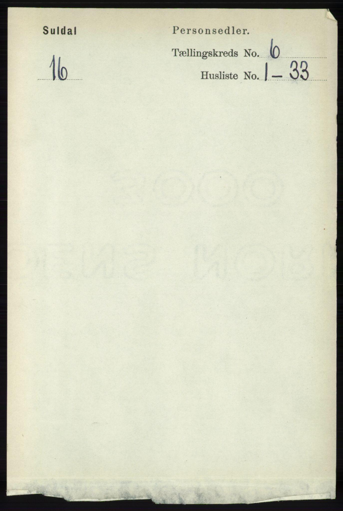 RA, Folketelling 1891 for 1134 Suldal herred, 1891, s. 1594