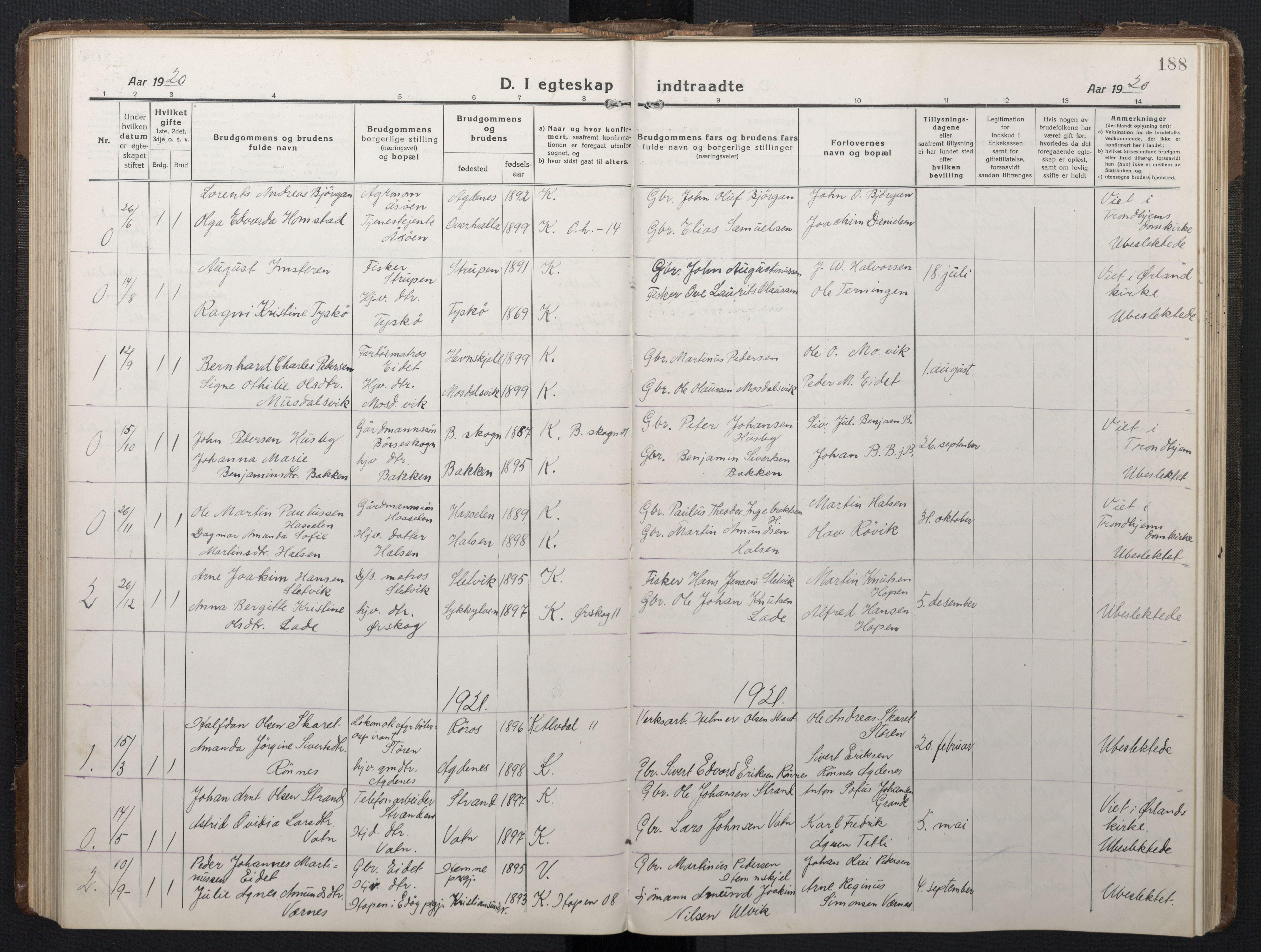 SAT, Ministerialprotokoller, klokkerbøker og fødselsregistre - Sør-Trøndelag, 662/L0758: Klokkerbok nr. 662C03, 1918-1948, s. 188
