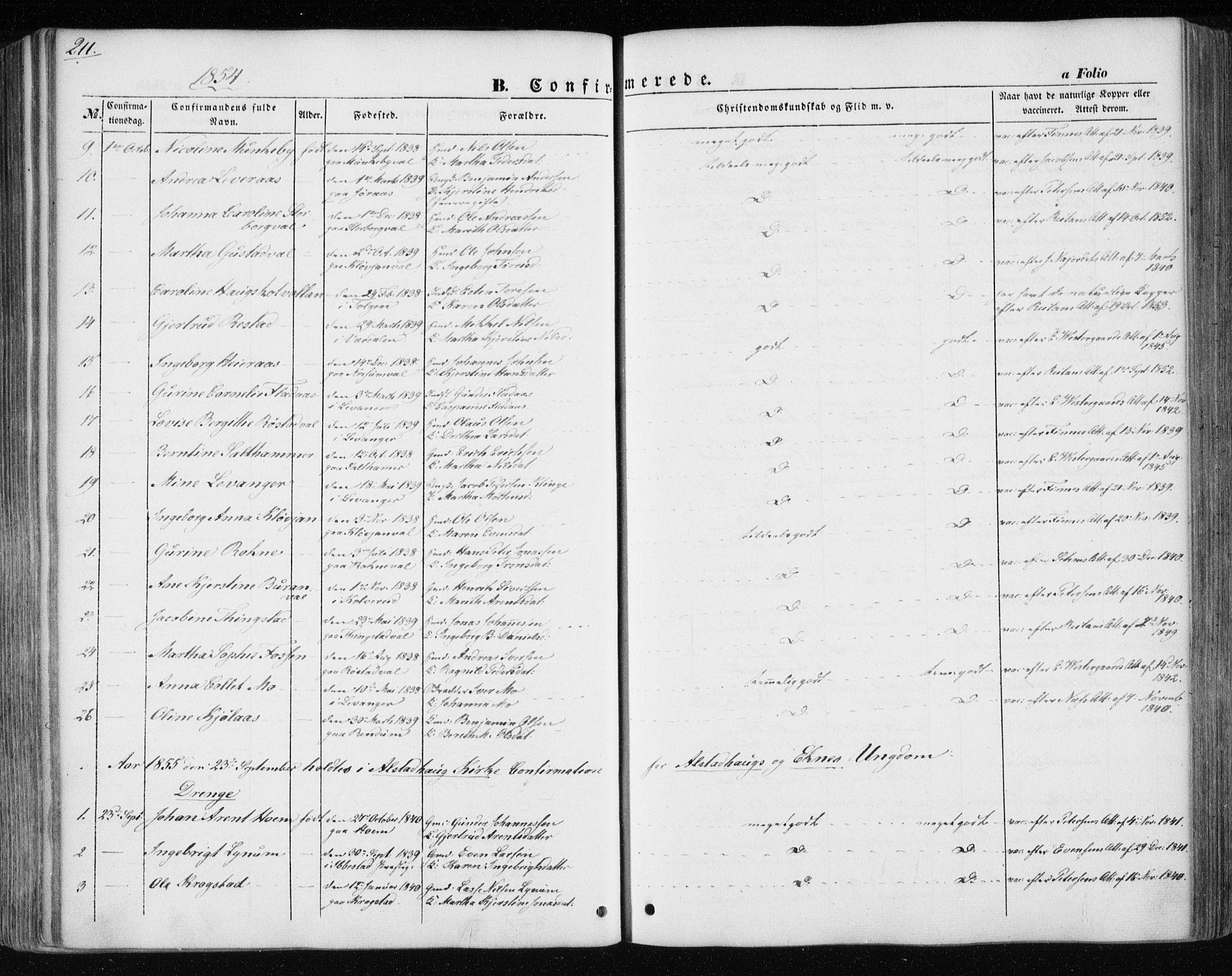 SAT, Ministerialprotokoller, klokkerbøker og fødselsregistre - Nord-Trøndelag, 717/L0154: Ministerialbok nr. 717A07 /1, 1850-1862, s. 211