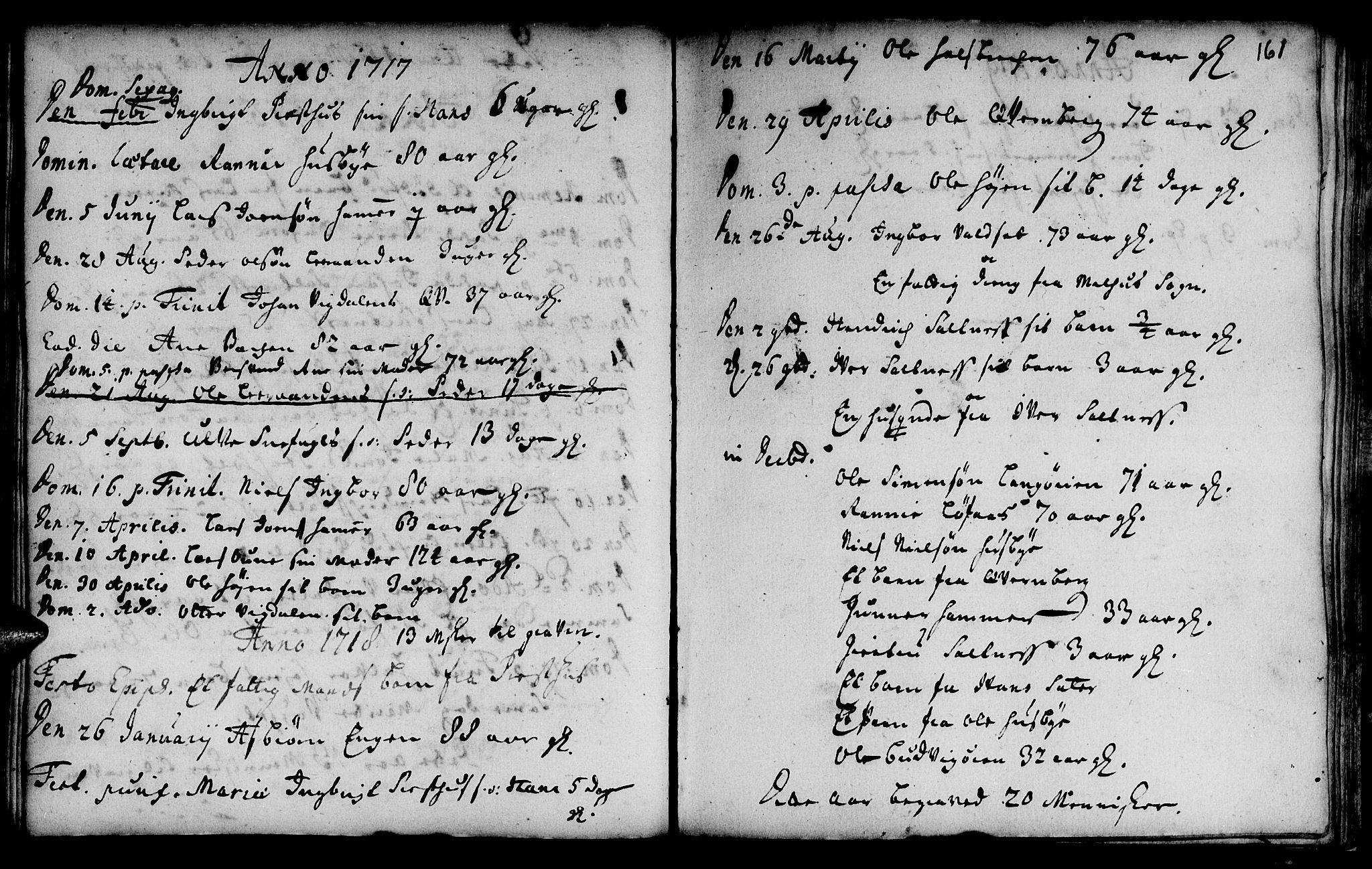 SAT, Ministerialprotokoller, klokkerbøker og fødselsregistre - Sør-Trøndelag, 666/L0783: Ministerialbok nr. 666A01, 1702-1753, s. 161
