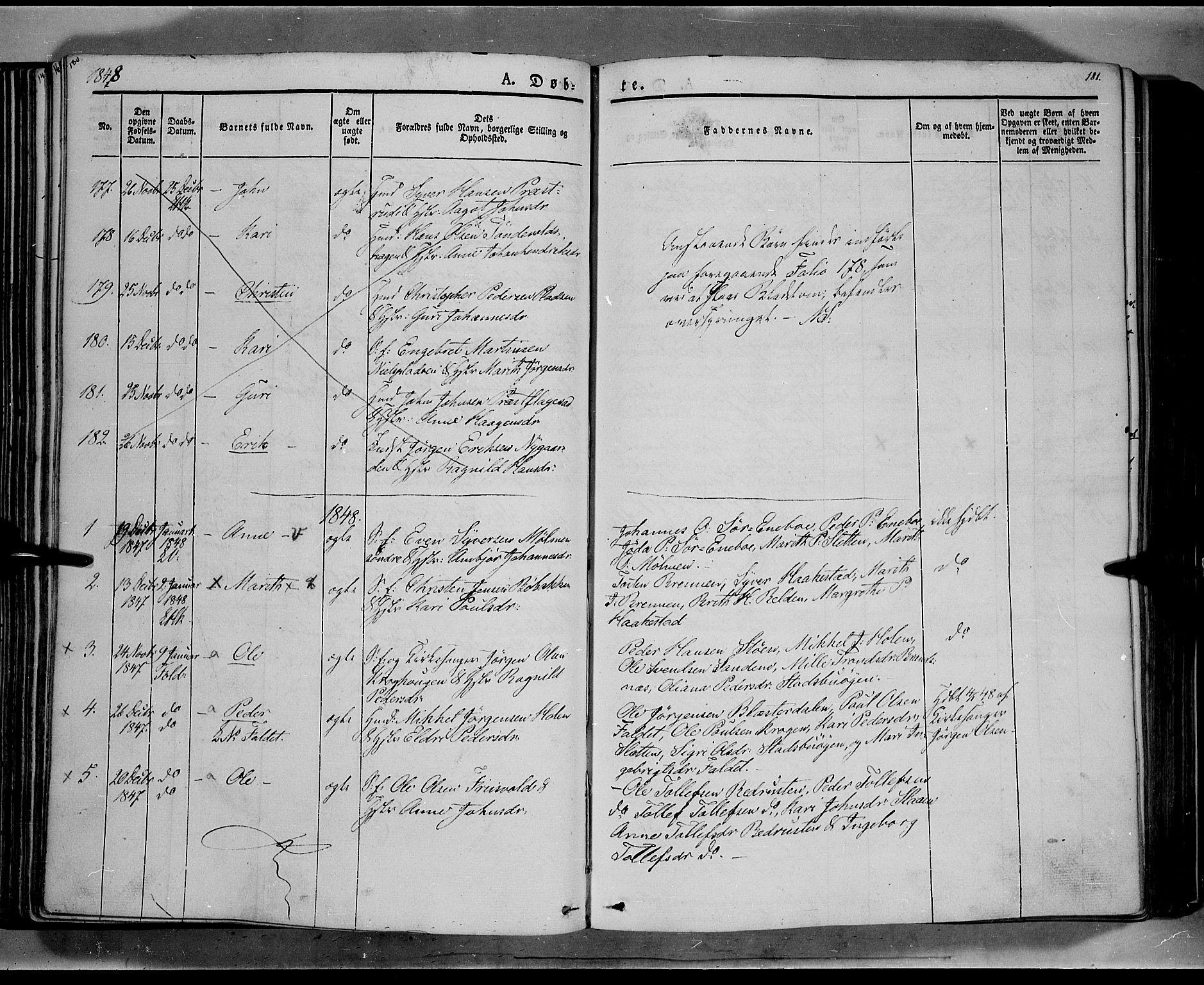 SAH, Lesja prestekontor, Ministerialbok nr. 6A, 1843-1854, s. 180-181