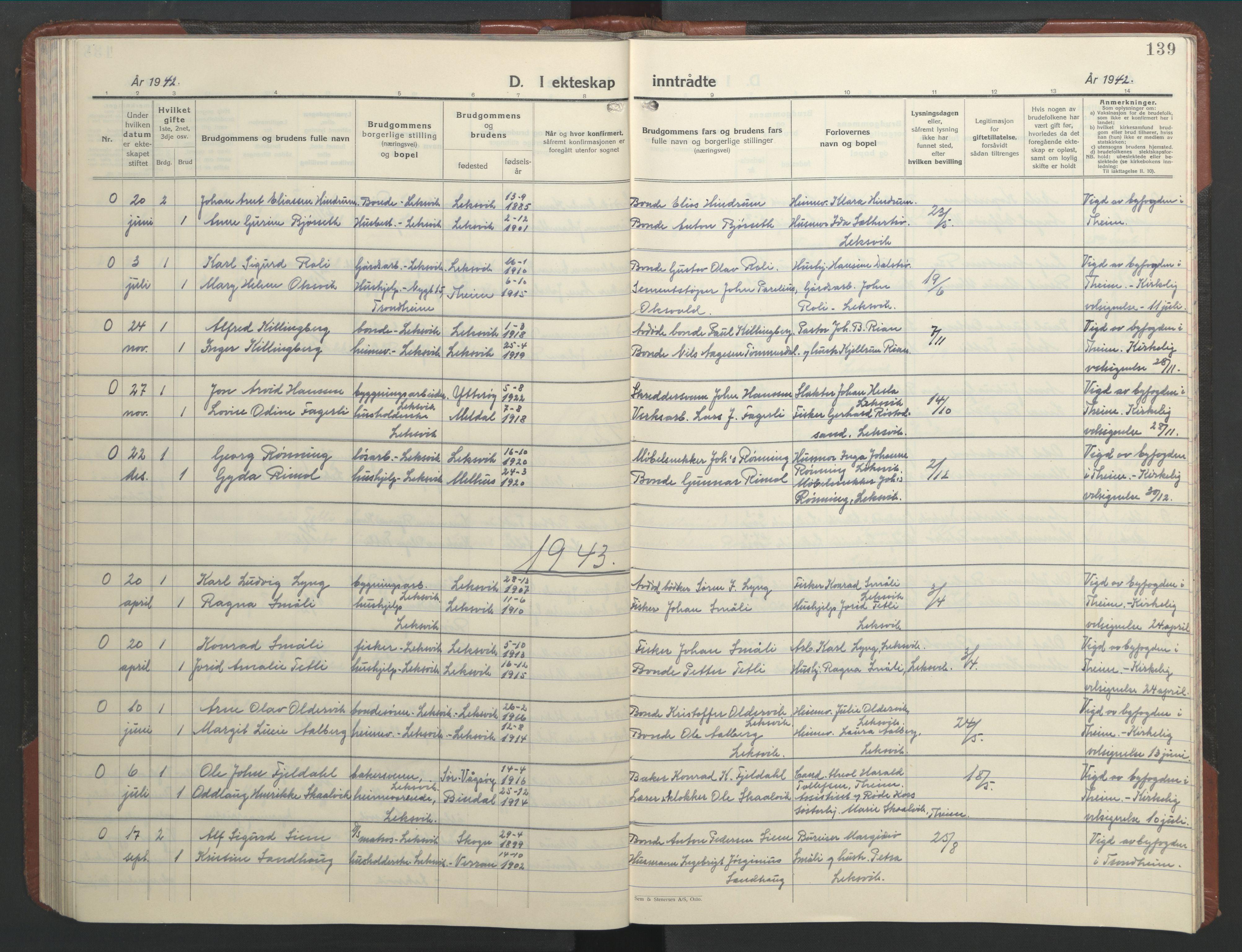 SAT, Ministerialprotokoller, klokkerbøker og fødselsregistre - Nord-Trøndelag, 701/L0019: Klokkerbok nr. 701C03, 1930-1953, s. 139