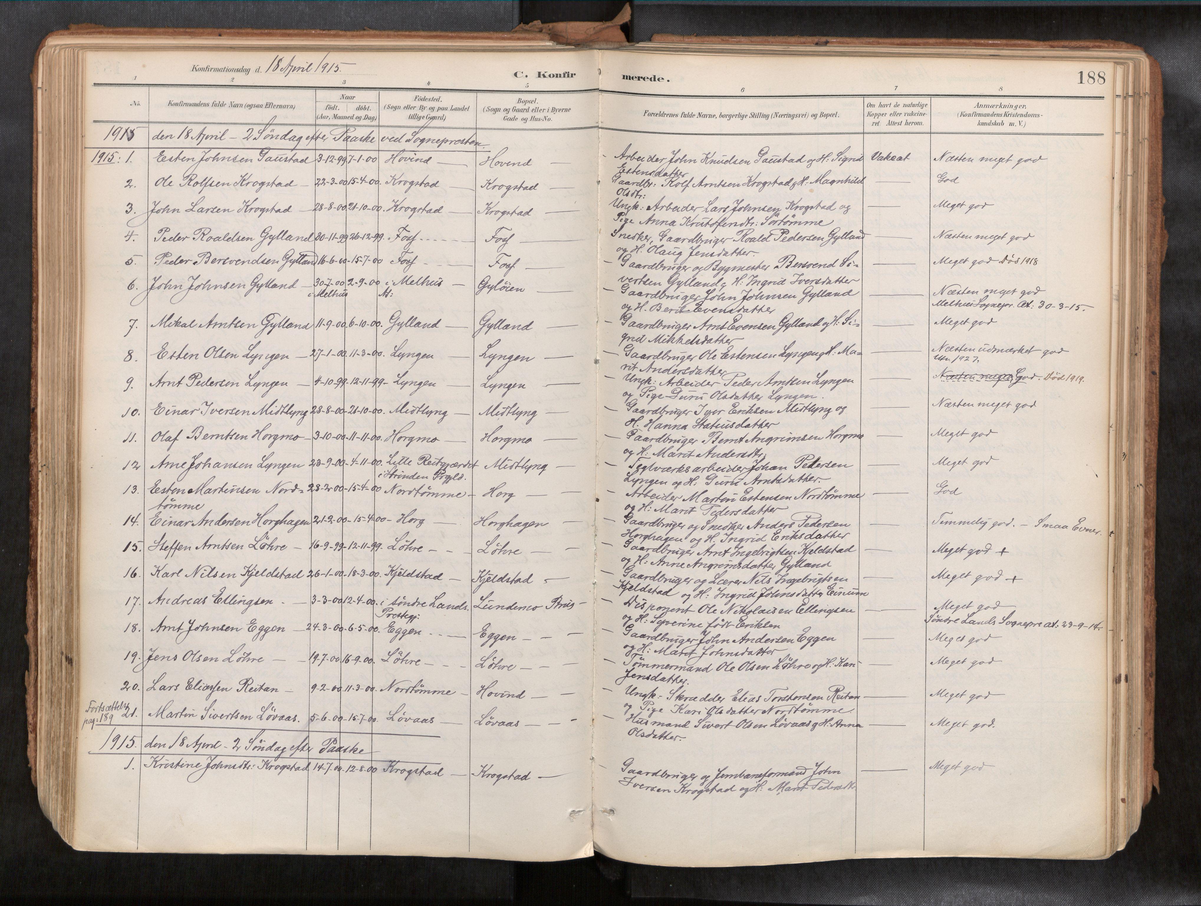 SAT, Ministerialprotokoller, klokkerbøker og fødselsregistre - Sør-Trøndelag, 692/L1105b: Ministerialbok nr. 692A06, 1891-1934, s. 188