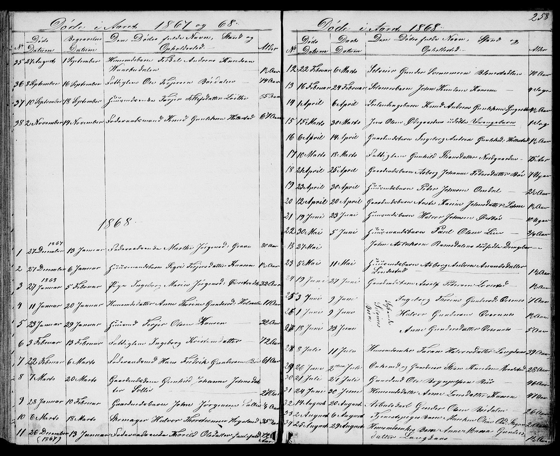 SAKO, Drangedal kirkebøker, G/Gb/L0001: Klokkerbok nr. II 1, 1856-1894, s. 258