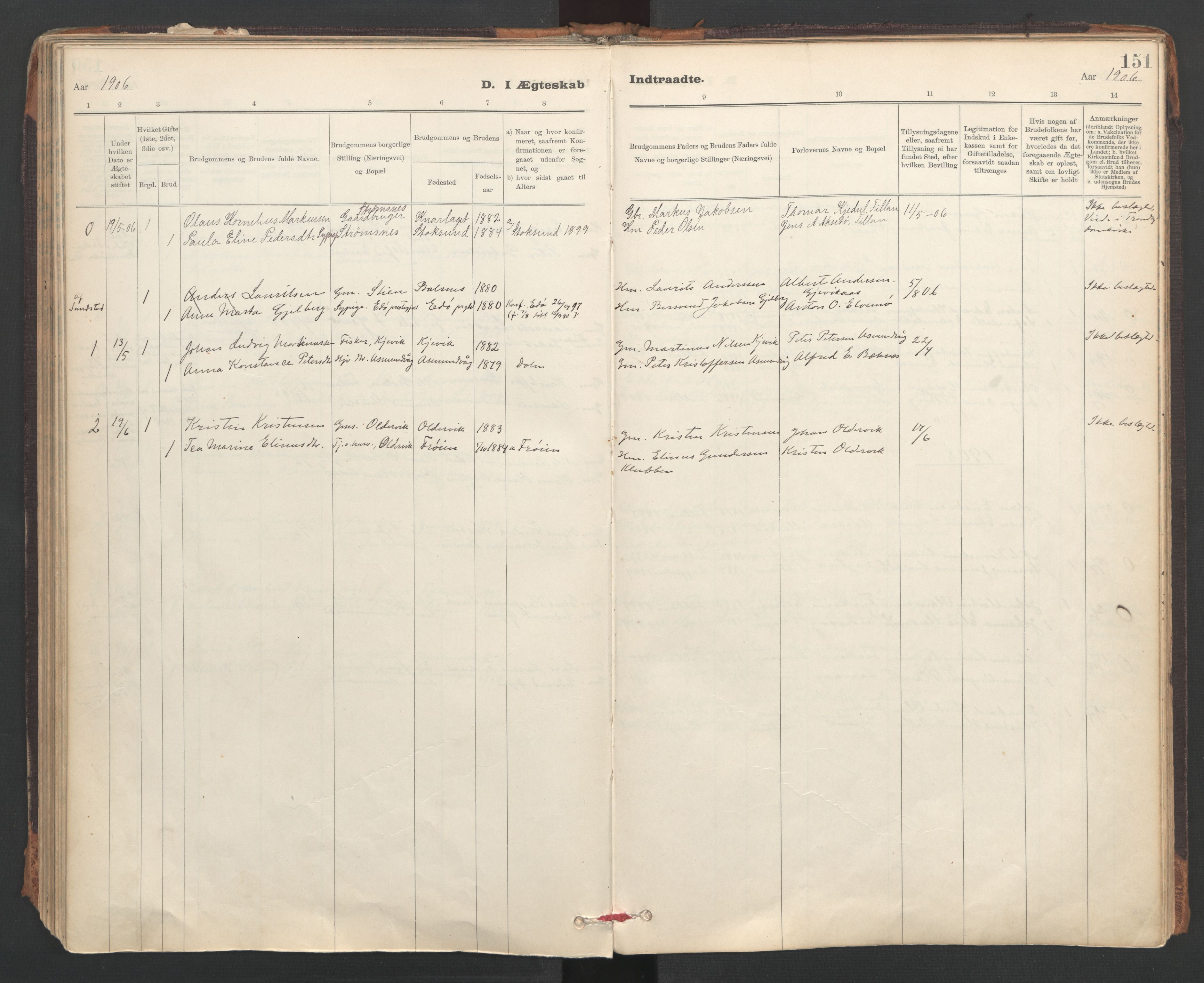 SAT, Ministerialprotokoller, klokkerbøker og fødselsregistre - Sør-Trøndelag, 637/L0559: Ministerialbok nr. 637A02, 1899-1923, s. 151