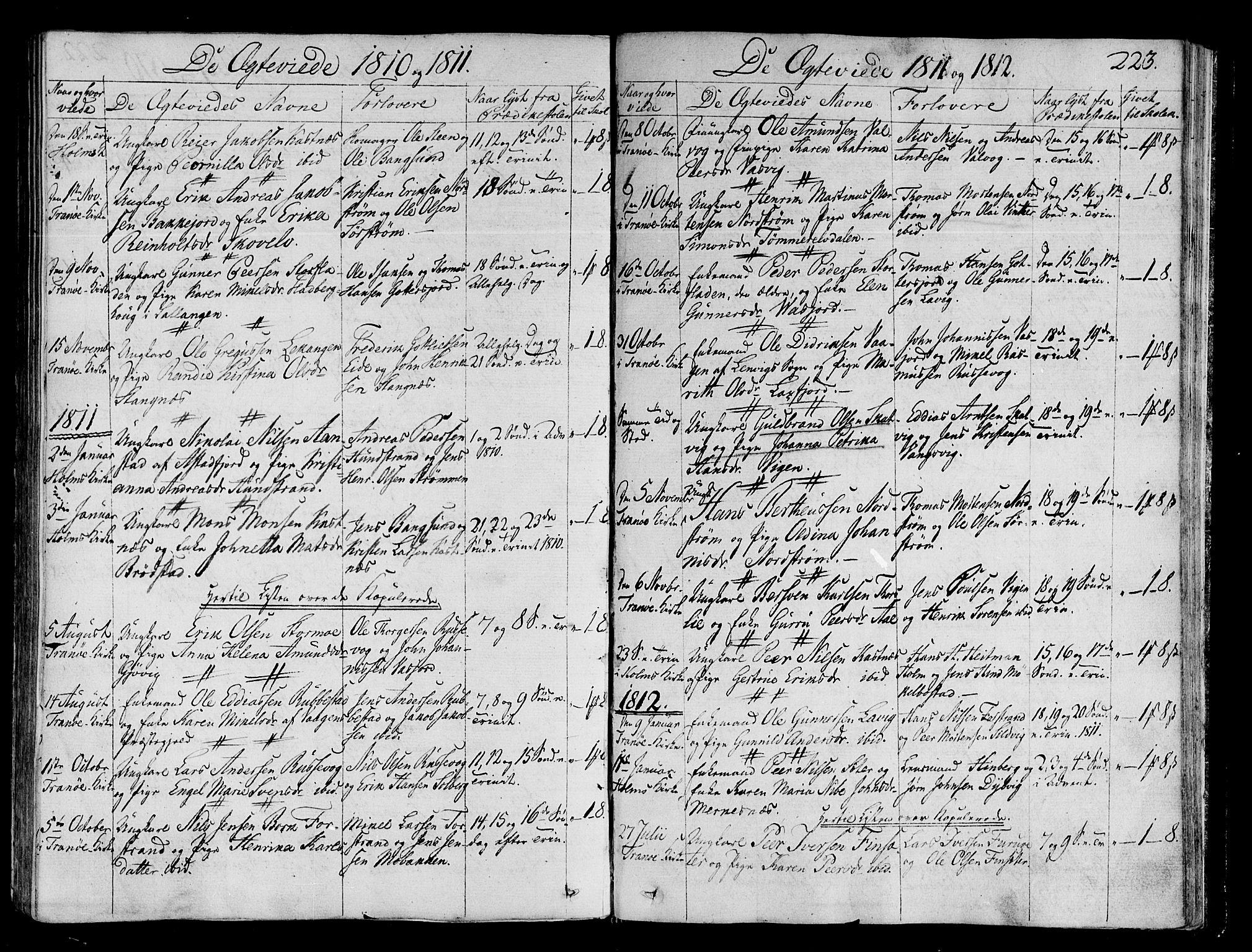 SATØ, Tranøy sokneprestkontor, I/Ia/Iaa/L0003kirke: Ministerialbok nr. 3, 1807-1820, s. 223