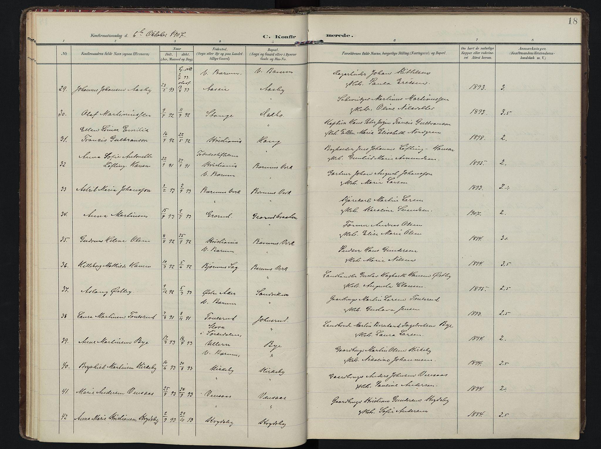 SAO, Vestre Bærum prestekontor Kirkebøker, F/Fa/L0002: Ministerialbok nr. 2, 1905-1920, s. 18