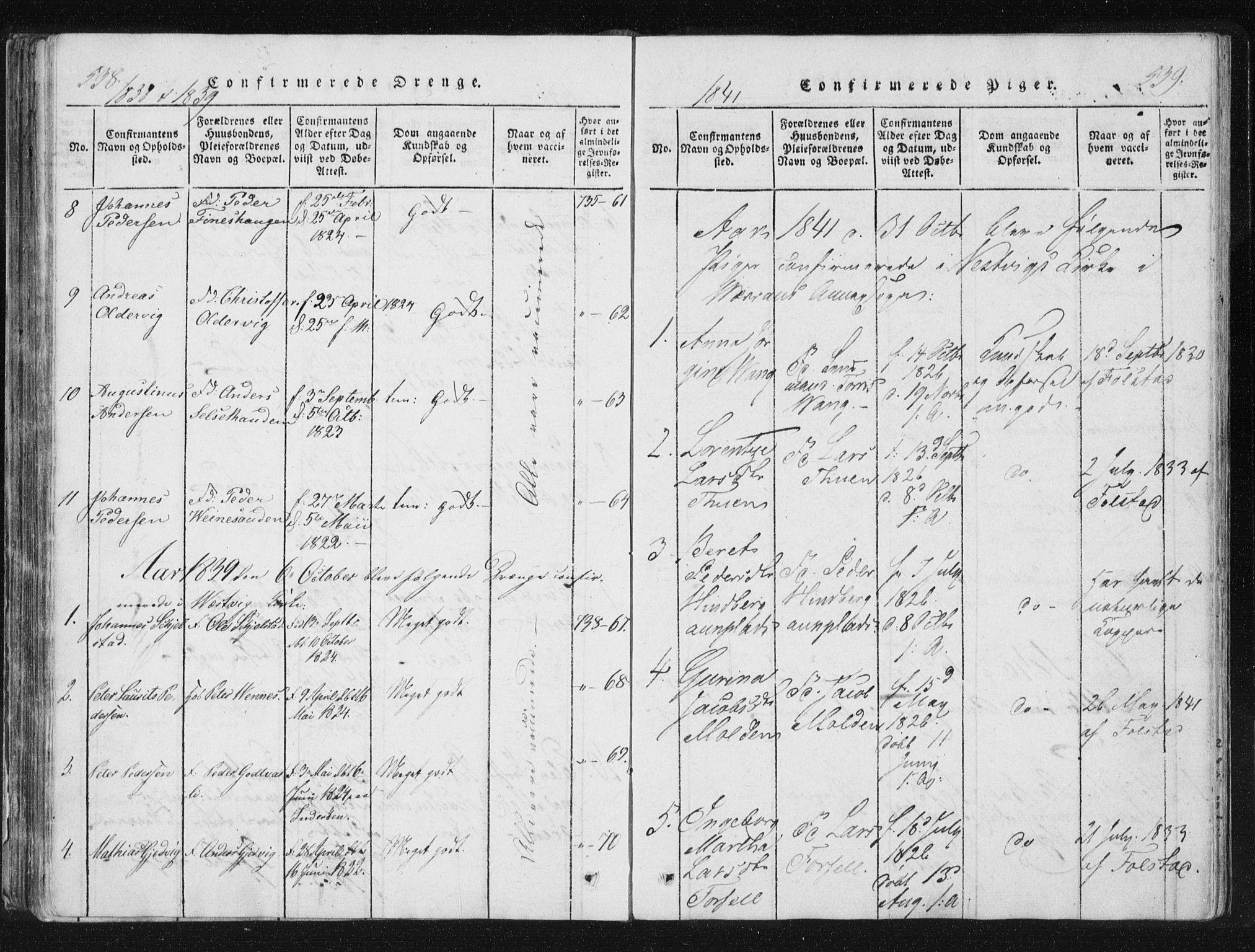 SAT, Ministerialprotokoller, klokkerbøker og fødselsregistre - Nord-Trøndelag, 744/L0417: Ministerialbok nr. 744A01, 1817-1842, s. 538-539