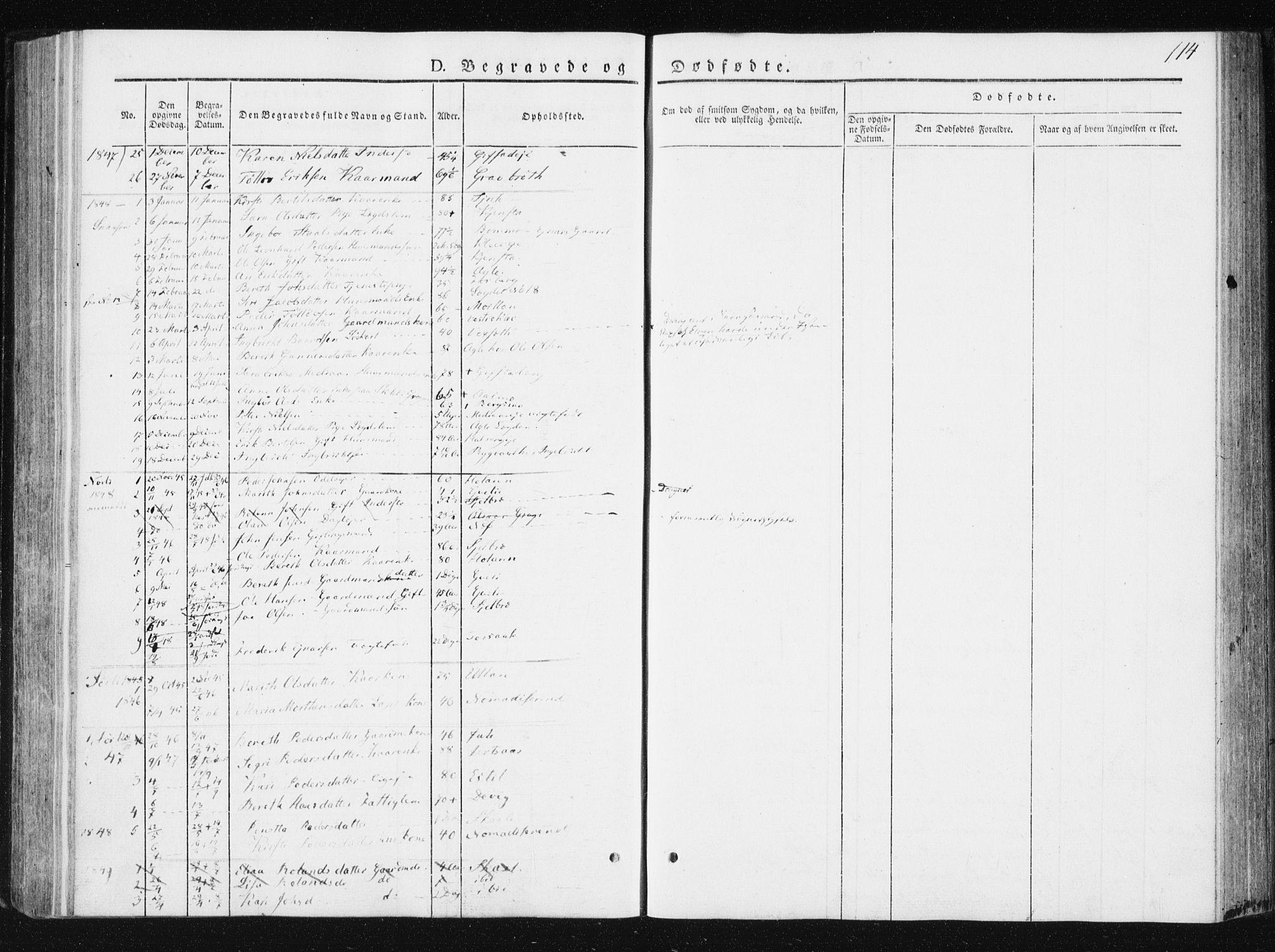 SAT, Ministerialprotokoller, klokkerbøker og fødselsregistre - Nord-Trøndelag, 749/L0470: Ministerialbok nr. 749A04, 1834-1853, s. 114