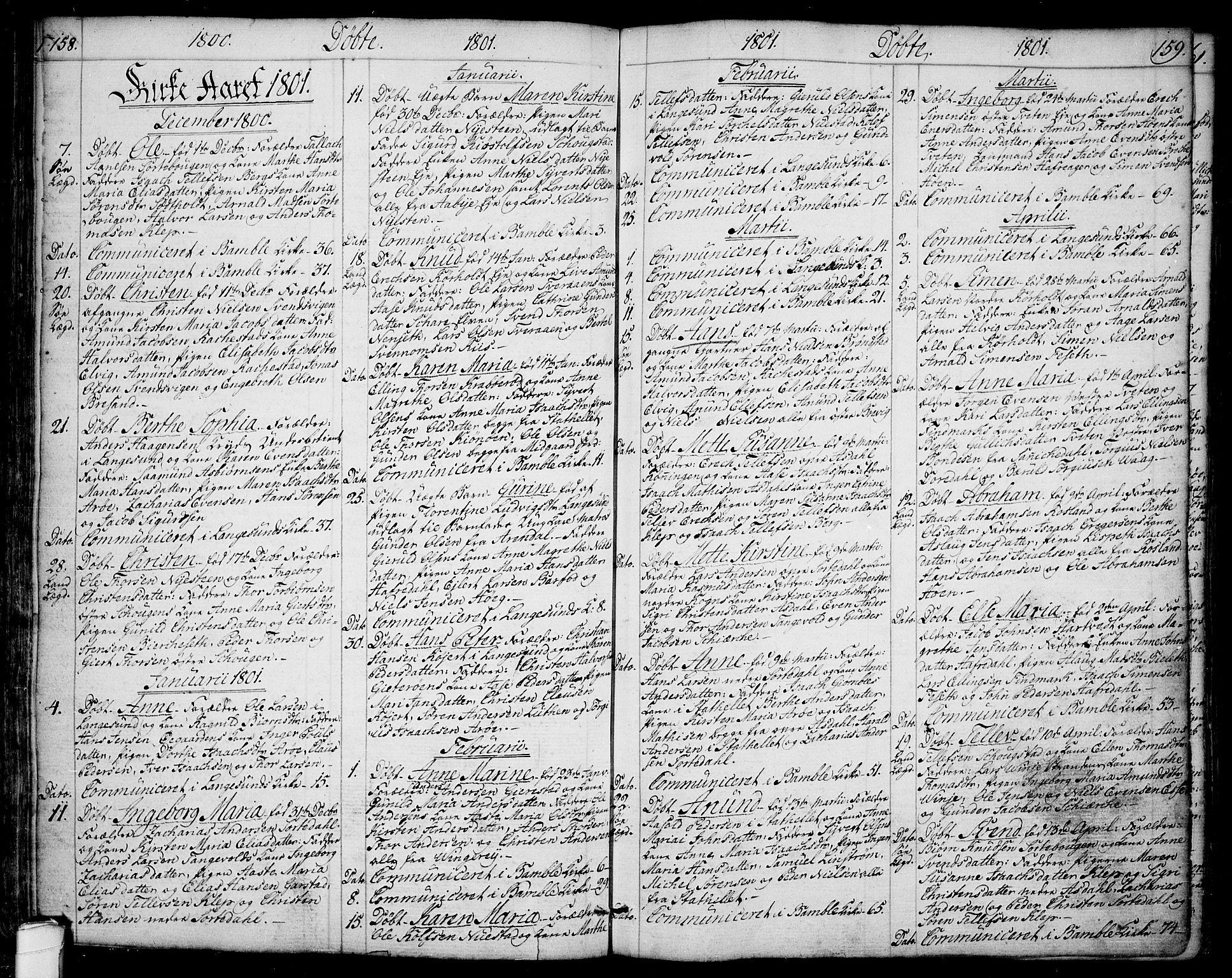 SAKO, Bamble kirkebøker, F/Fa/L0002: Ministerialbok nr. I 2, 1775-1814, s. 158-159
