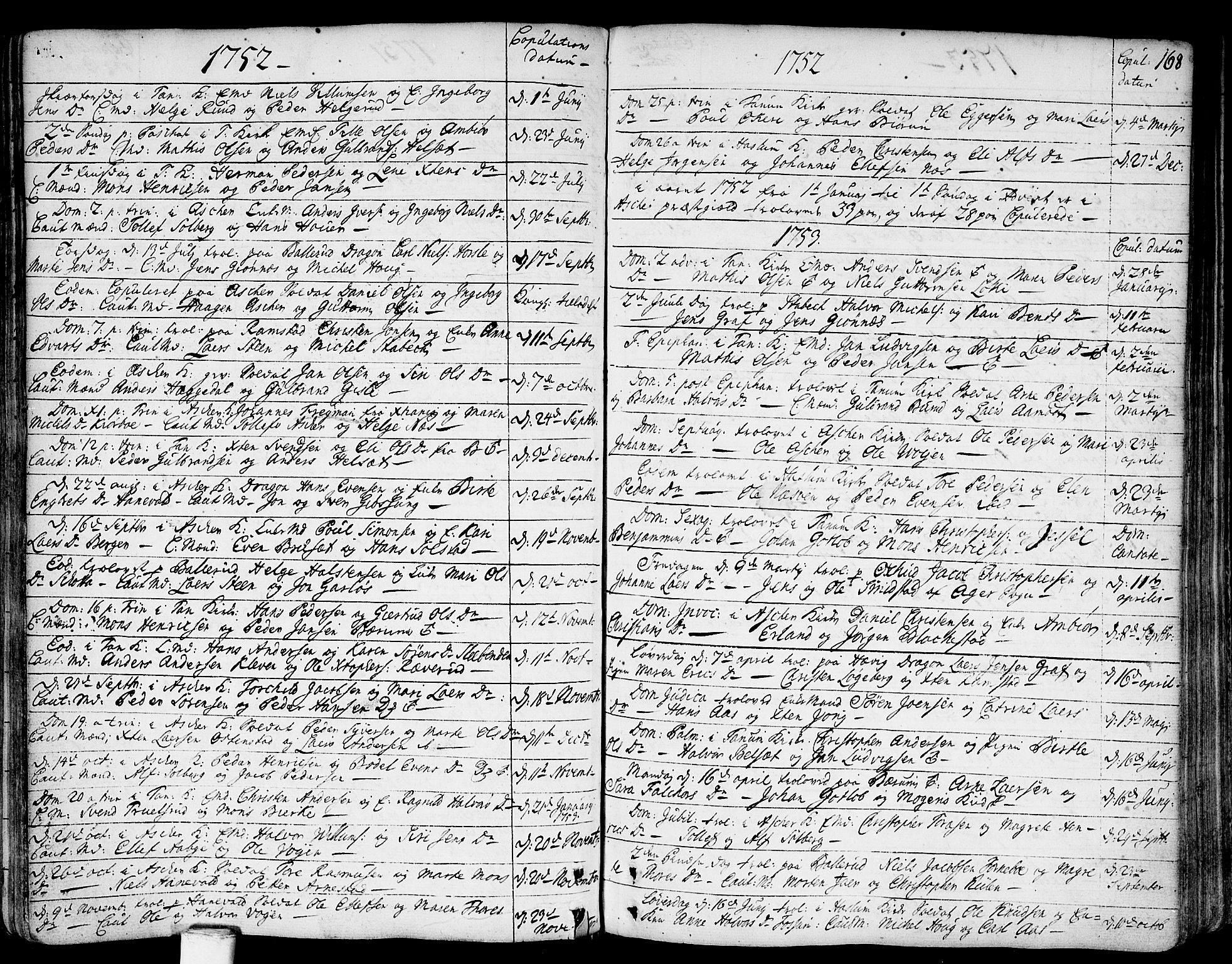 SAO, Asker prestekontor Kirkebøker, F/Fa/L0002: Ministerialbok nr. I 2, 1733-1766, s. 168