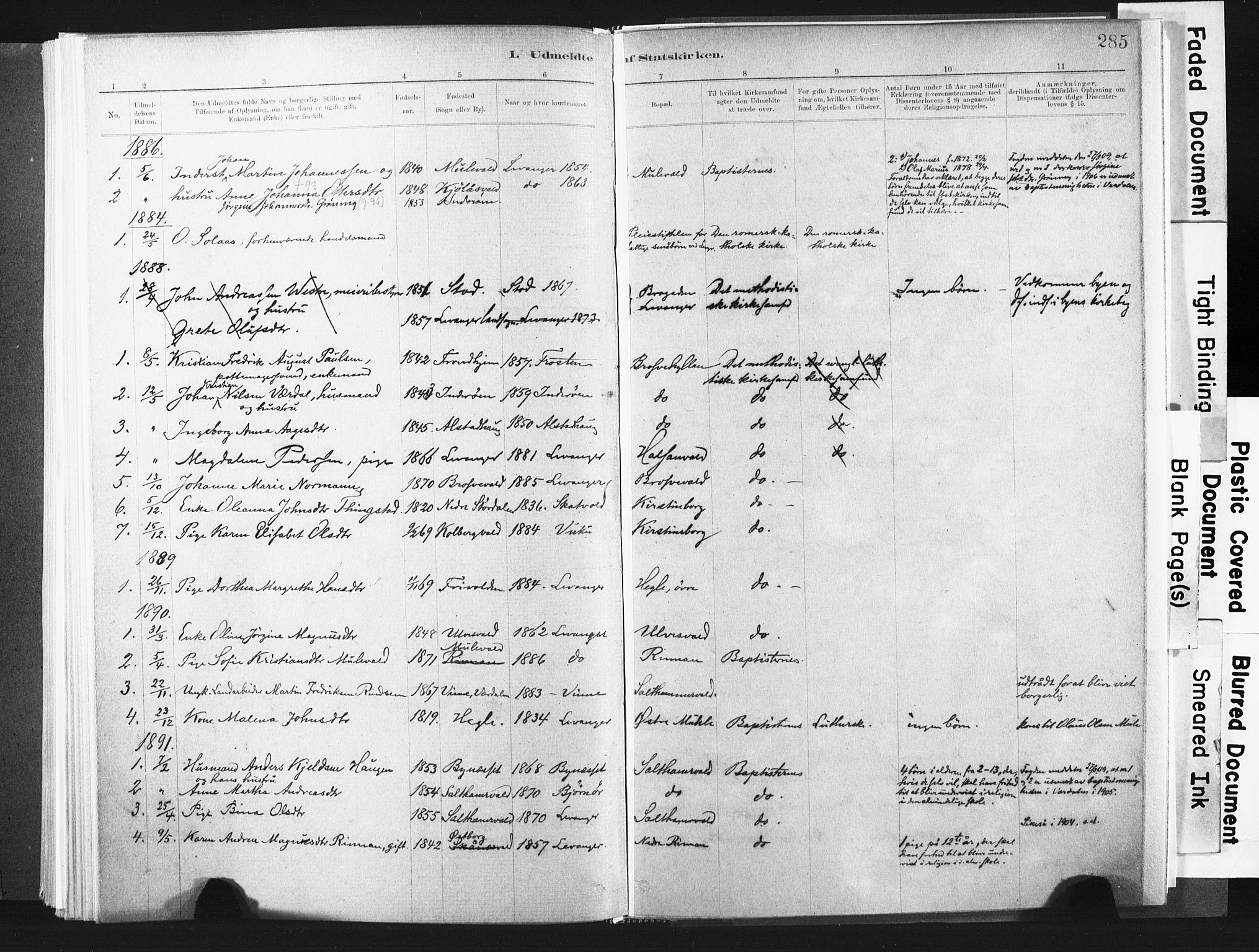 SAT, Ministerialprotokoller, klokkerbøker og fødselsregistre - Nord-Trøndelag, 721/L0207: Ministerialbok nr. 721A02, 1880-1911, s. 285