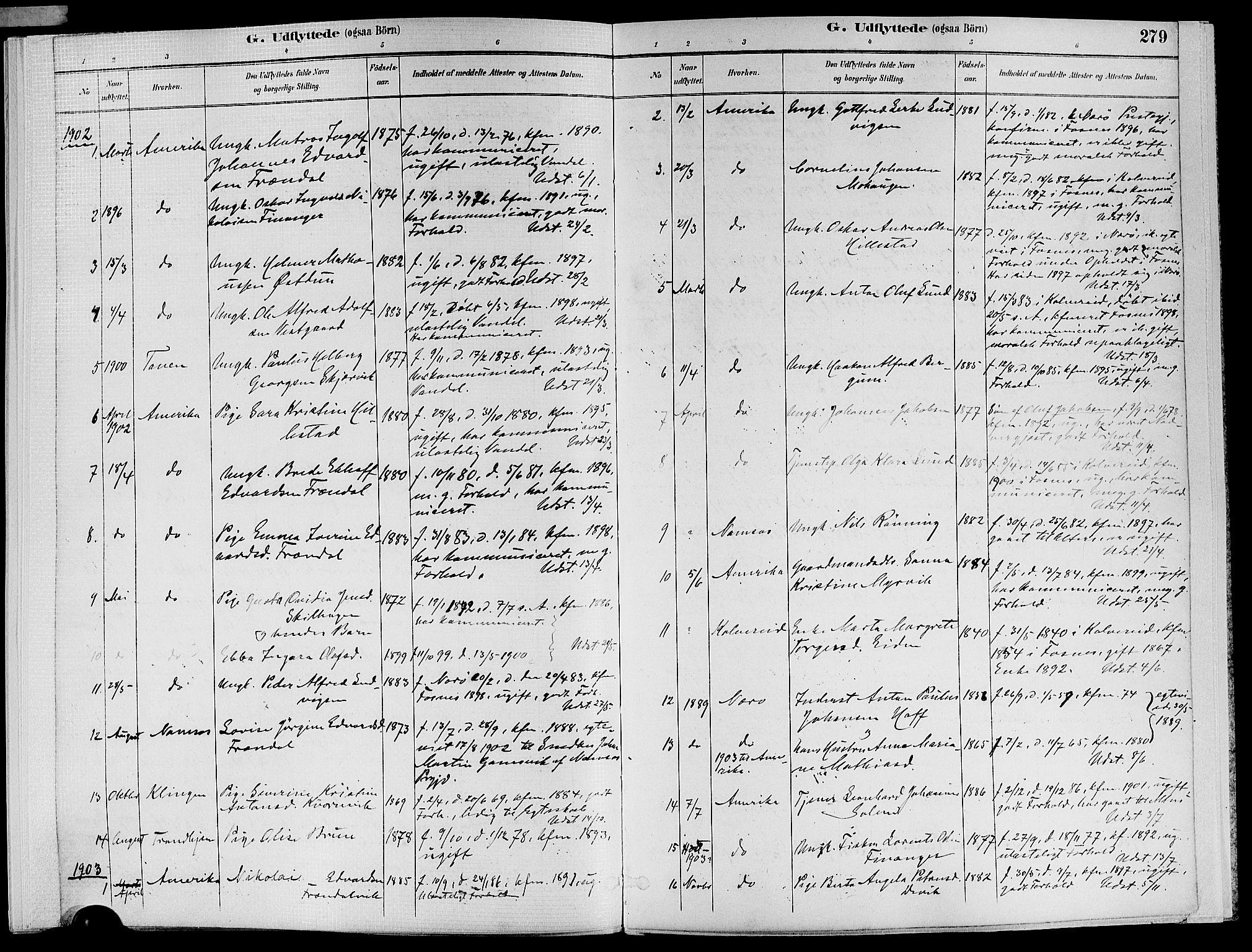 SAT, Ministerialprotokoller, klokkerbøker og fødselsregistre - Nord-Trøndelag, 773/L0617: Ministerialbok nr. 773A08, 1887-1910, s. 279
