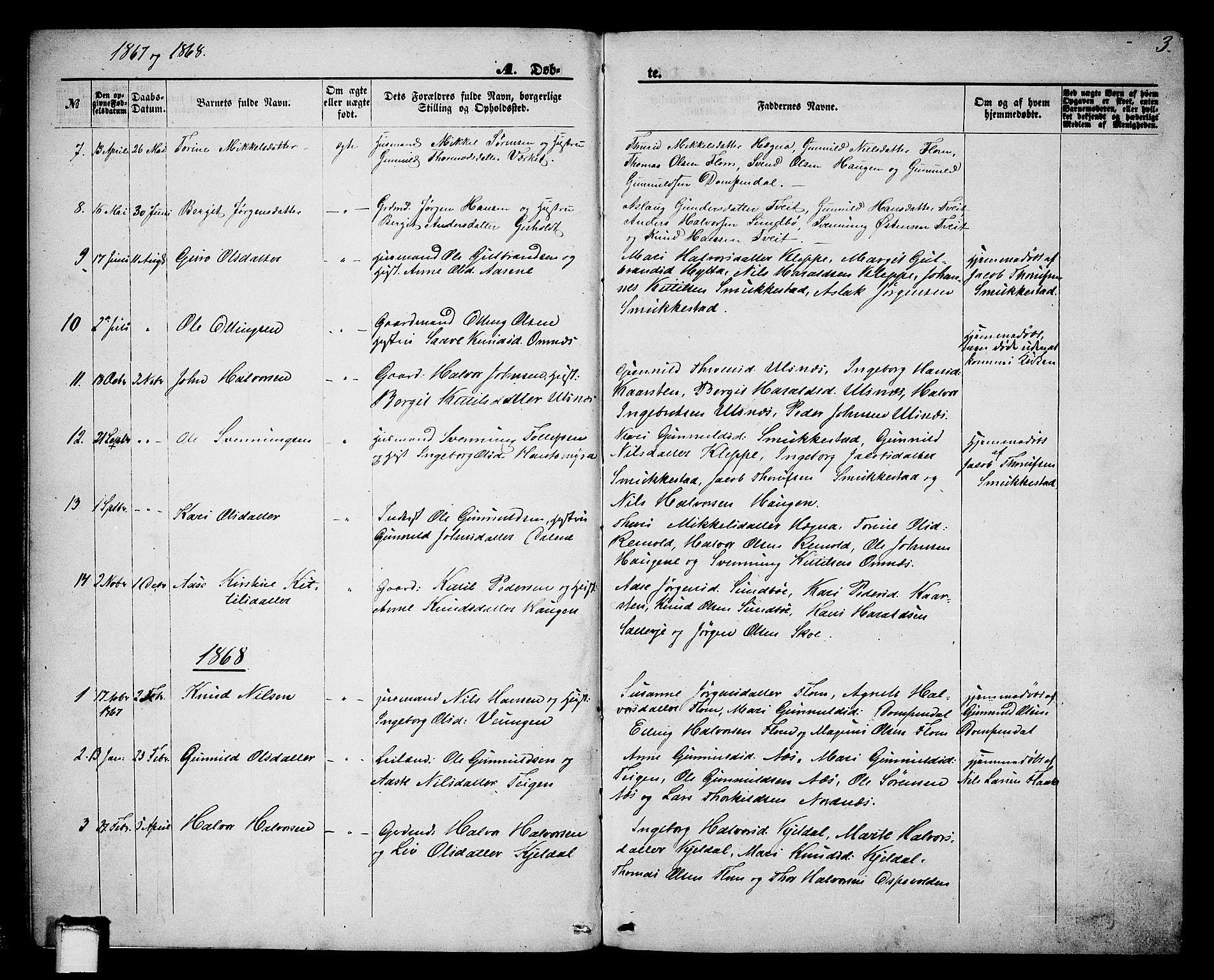 SAKO, Lunde kirkebøker, G/Gb/L0001: Klokkerbok nr. II 1, 1866-1887, s. 3