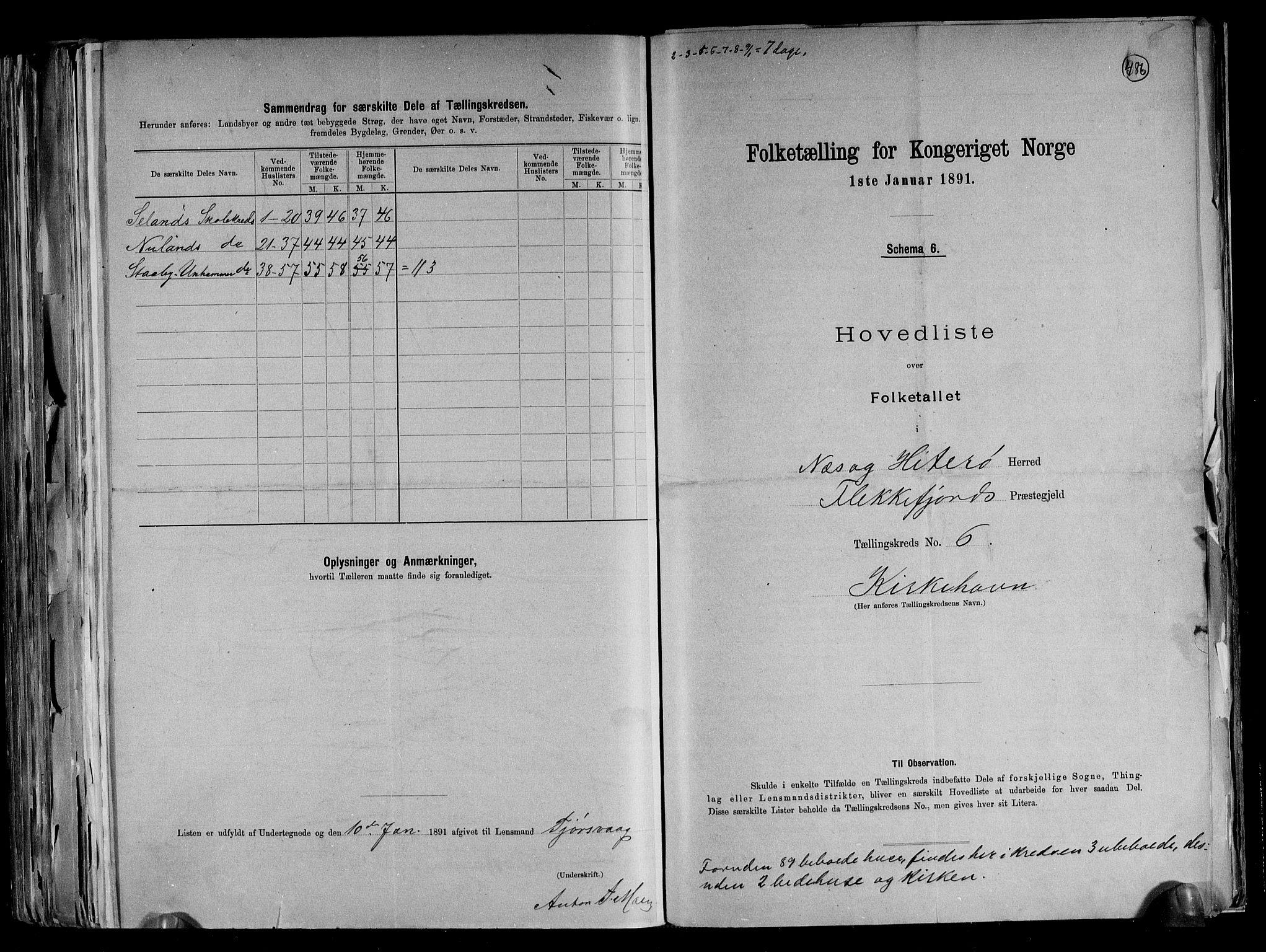 RA, Folketelling 1891 for 1043 Hidra og Nes herred, 1891, s. 15