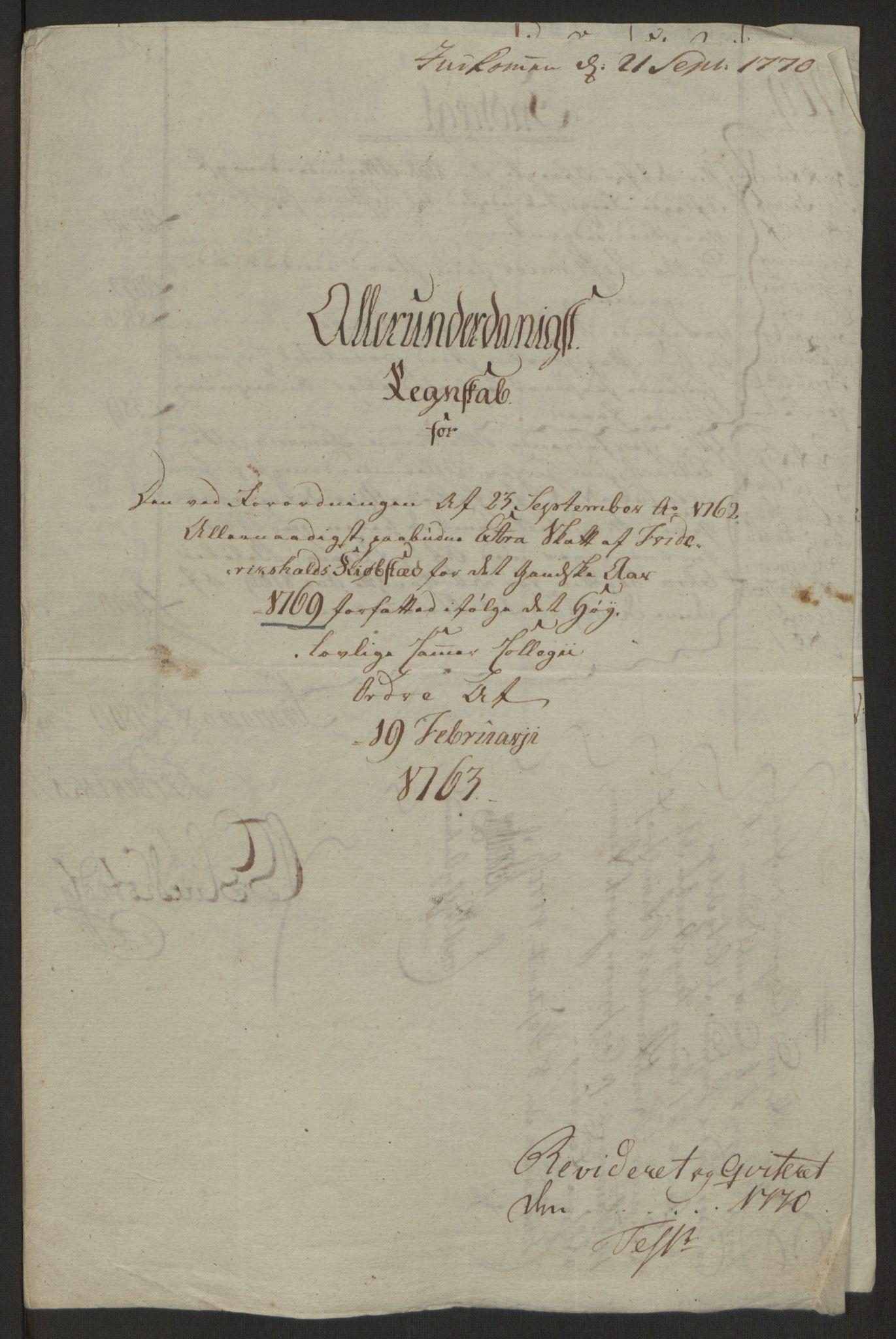 RA, Rentekammeret inntil 1814, Reviderte regnskaper, Byregnskaper, R/Ra/L0006: [A4] Kontribusjonsregnskap, 1762-1772, s. 153