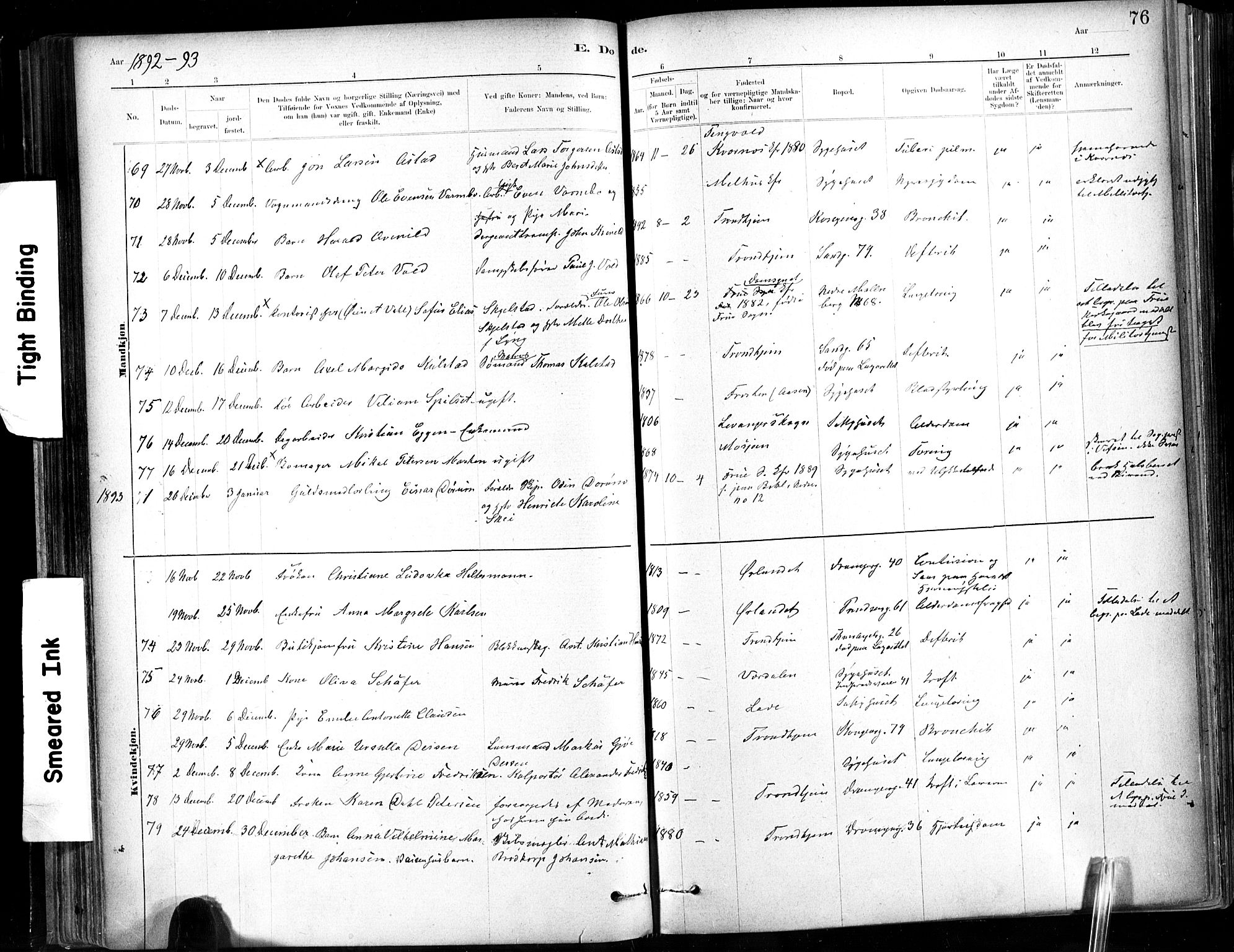 SAT, Ministerialprotokoller, klokkerbøker og fødselsregistre - Sør-Trøndelag, 602/L0120: Ministerialbok nr. 602A18, 1880-1913, s. 76