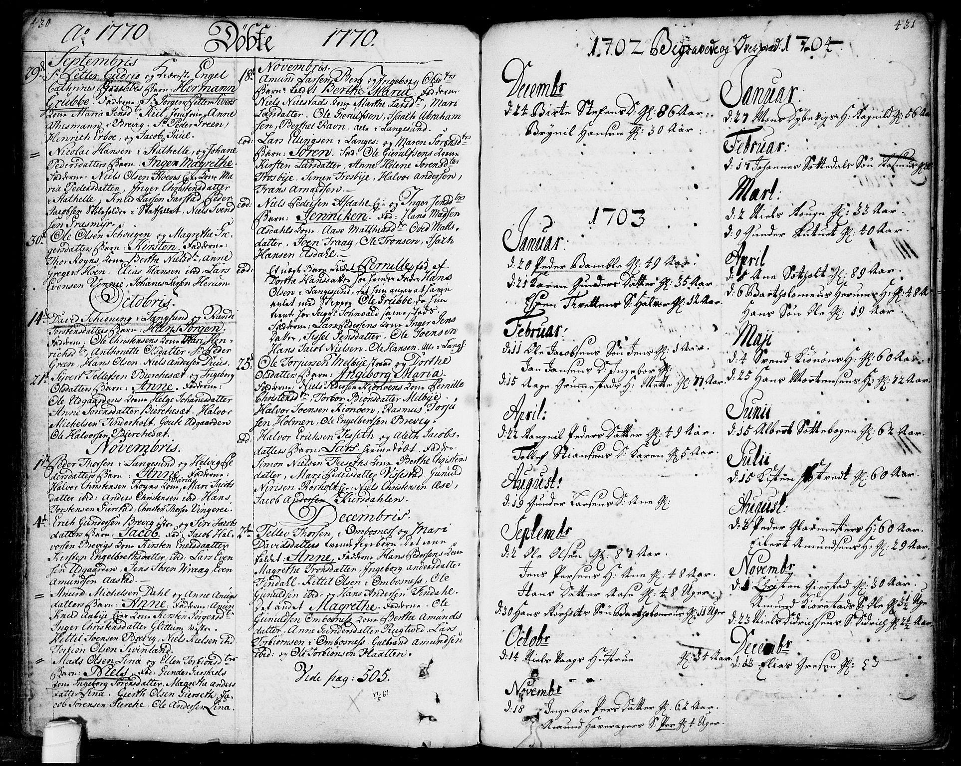 SAKO, Bamble kirkebøker, F/Fa/L0001: Ministerialbok nr. I 1, 1702-1774, s. 430-431