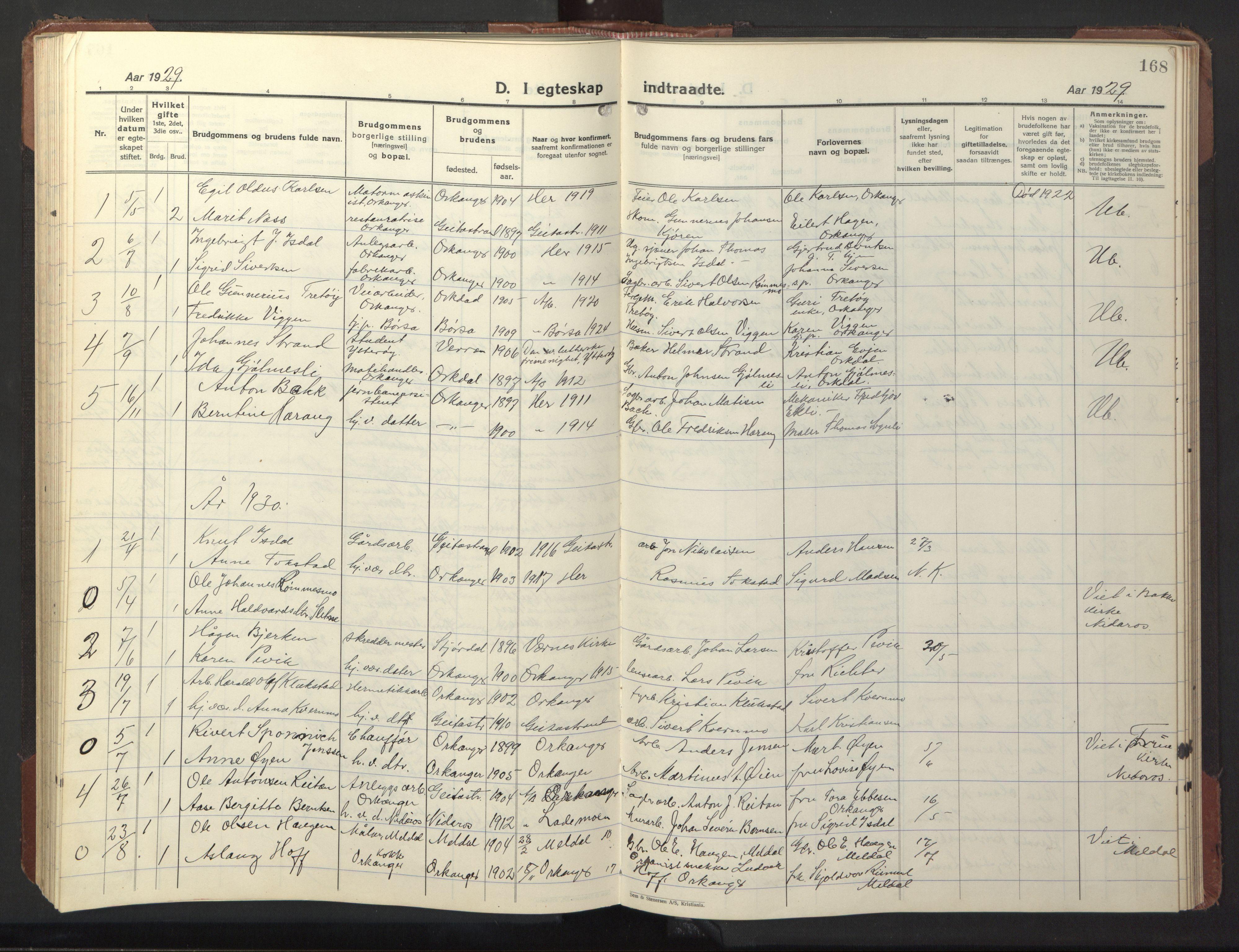 SAT, Ministerialprotokoller, klokkerbøker og fødselsregistre - Sør-Trøndelag, 669/L0832: Klokkerbok nr. 669C02, 1925-1953, s. 168
