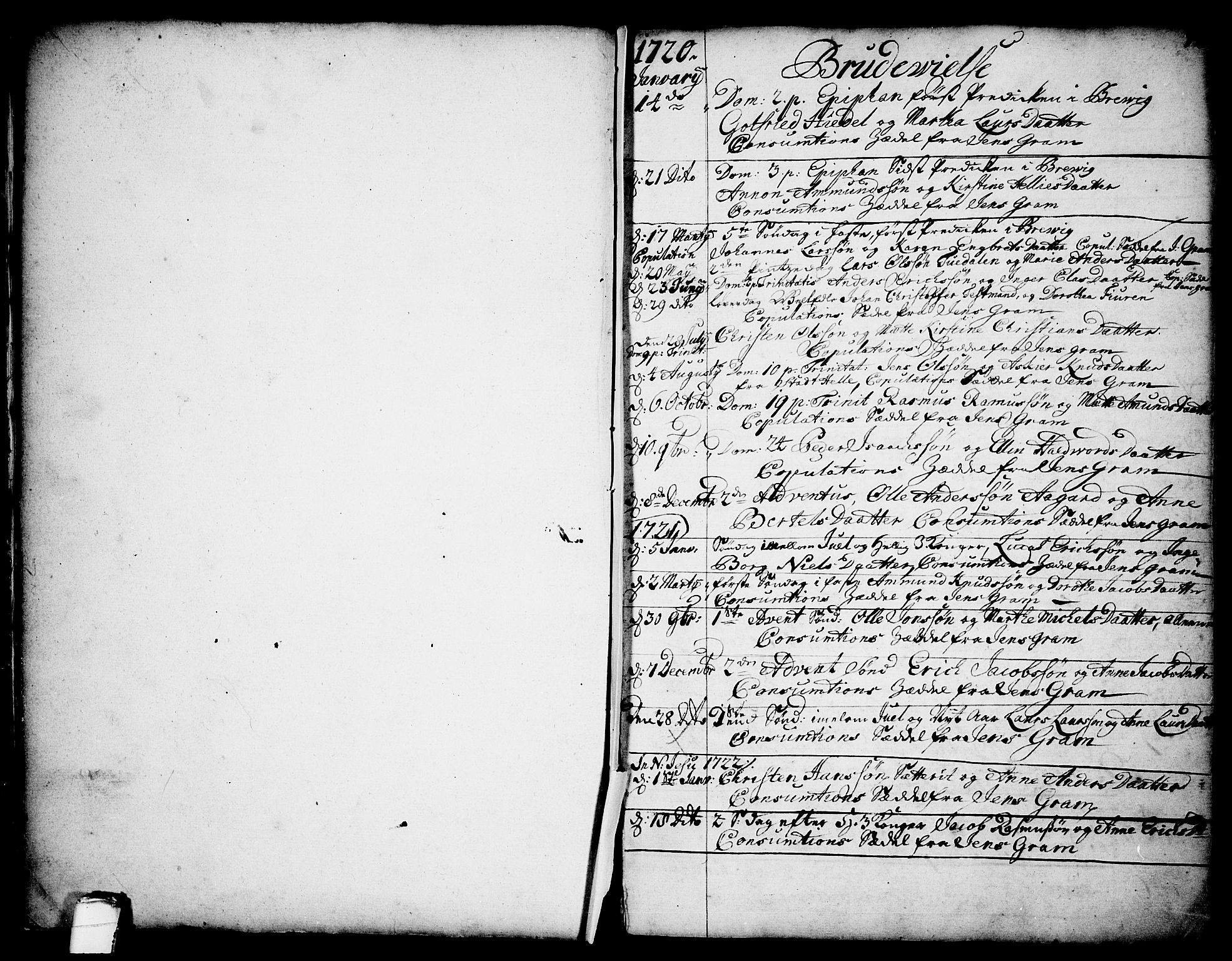 SAKO, Brevik kirkebøker, F/Fa/L0002: Ministerialbok nr. 2, 1720-1764, s. 12