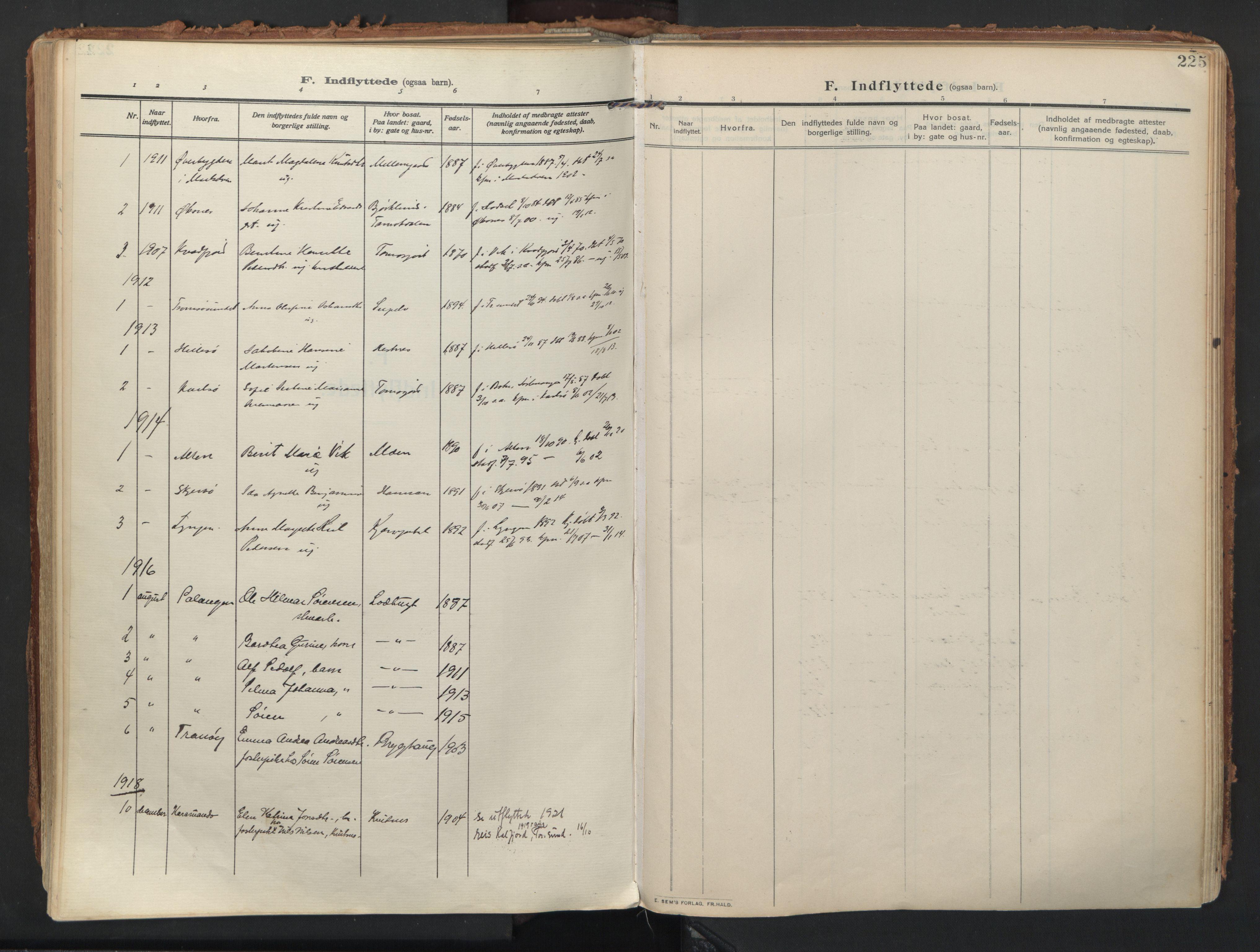 SATØ, Balsfjord sokneprestembete, Ministerialbok nr. 9, 1909-1921, s. 225