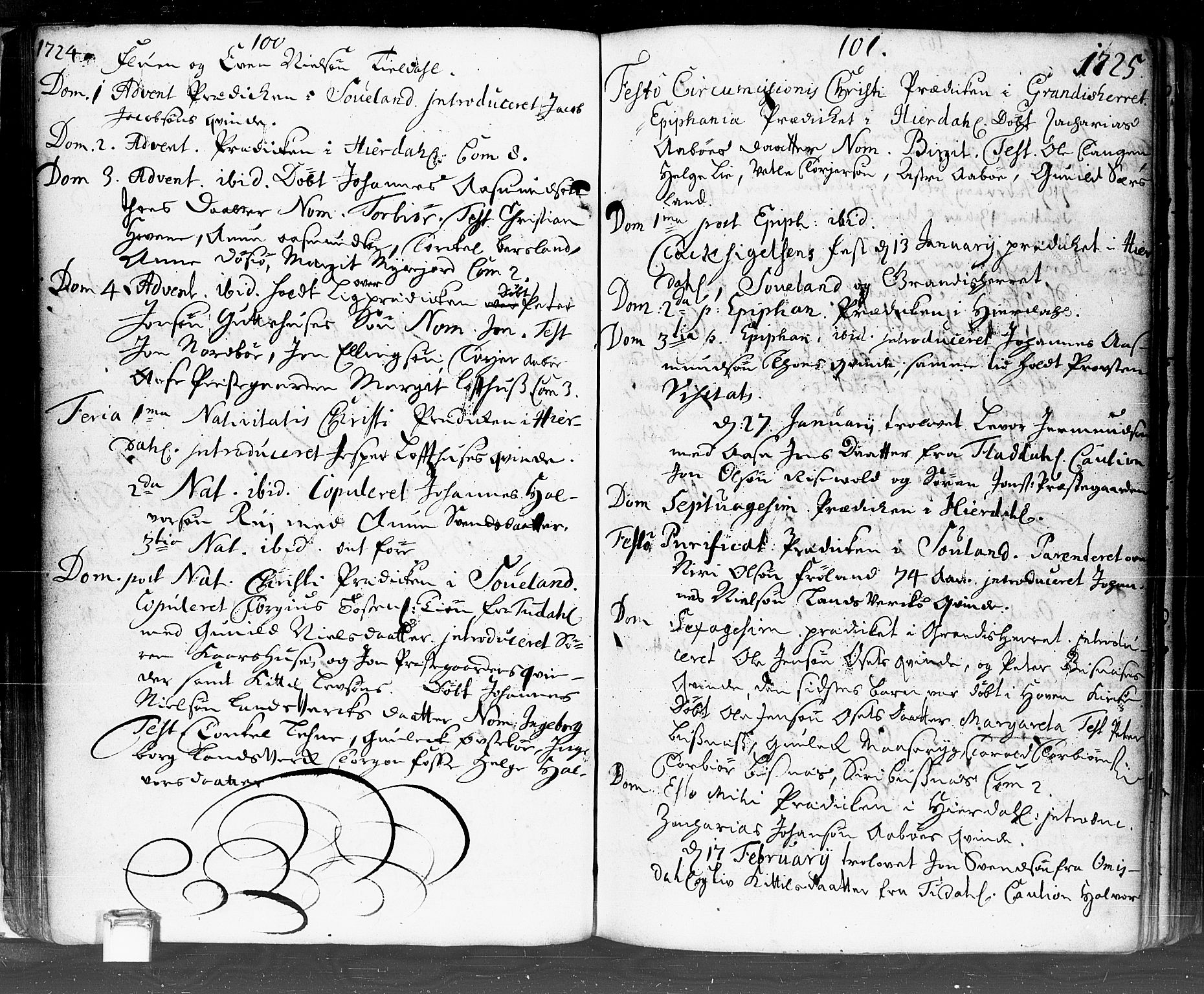 SAKO, Hjartdal kirkebøker, F/Fa/L0002: Ministerialbok nr. I 2, 1716-1754, s. 100-101