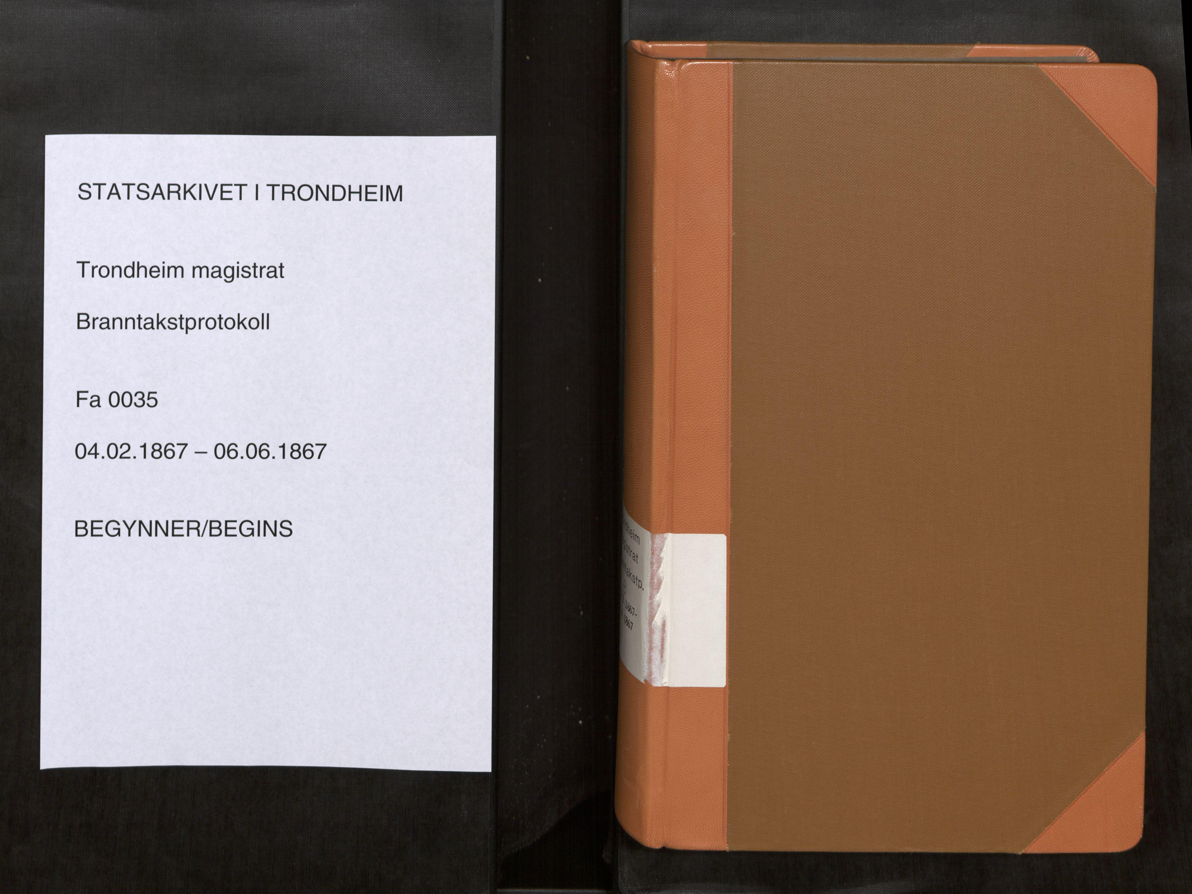 SAT, Norges Brannkasse Trondheim magistrat, Fa/L0040: Branntakstprotokoll B, 1867