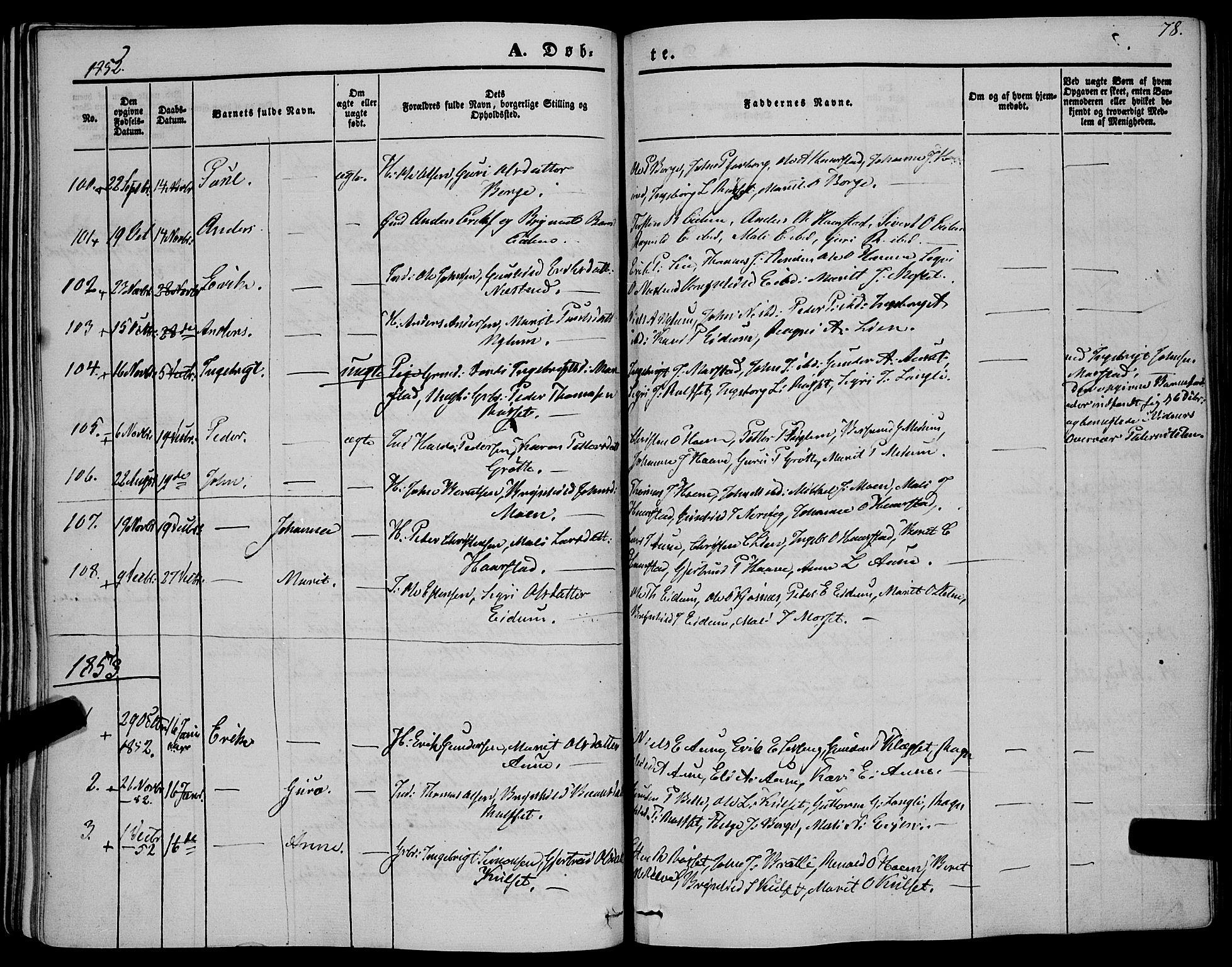 SAT, Ministerialprotokoller, klokkerbøker og fødselsregistre - Sør-Trøndelag, 695/L1145: Ministerialbok nr. 695A06 /1, 1843-1859, s. 78
