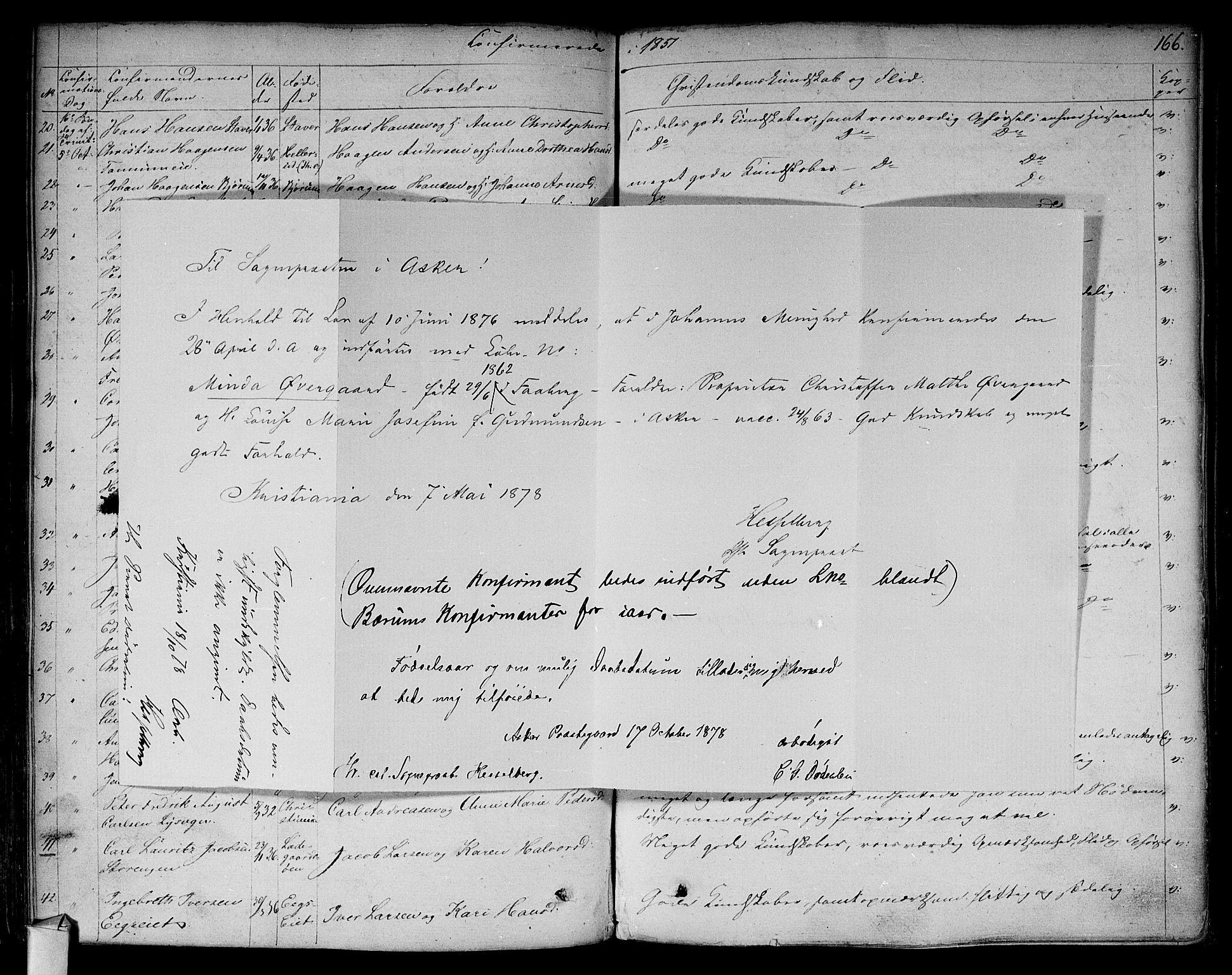 SAO, Asker prestekontor Kirkebøker, F/Fa/L0009: Ministerialbok nr. I 9, 1825-1878, s. 166