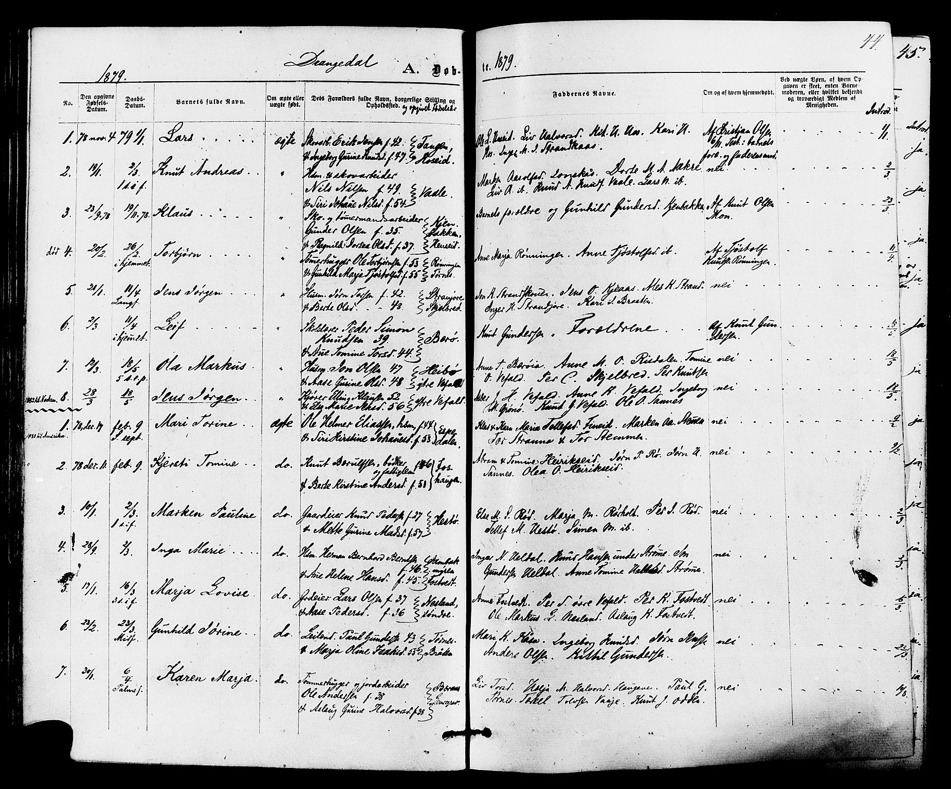 SAKO, Drangedal kirkebøker, F/Fa/L0009: Ministerialbok nr. 9 /1, 1872-1884, s. 44