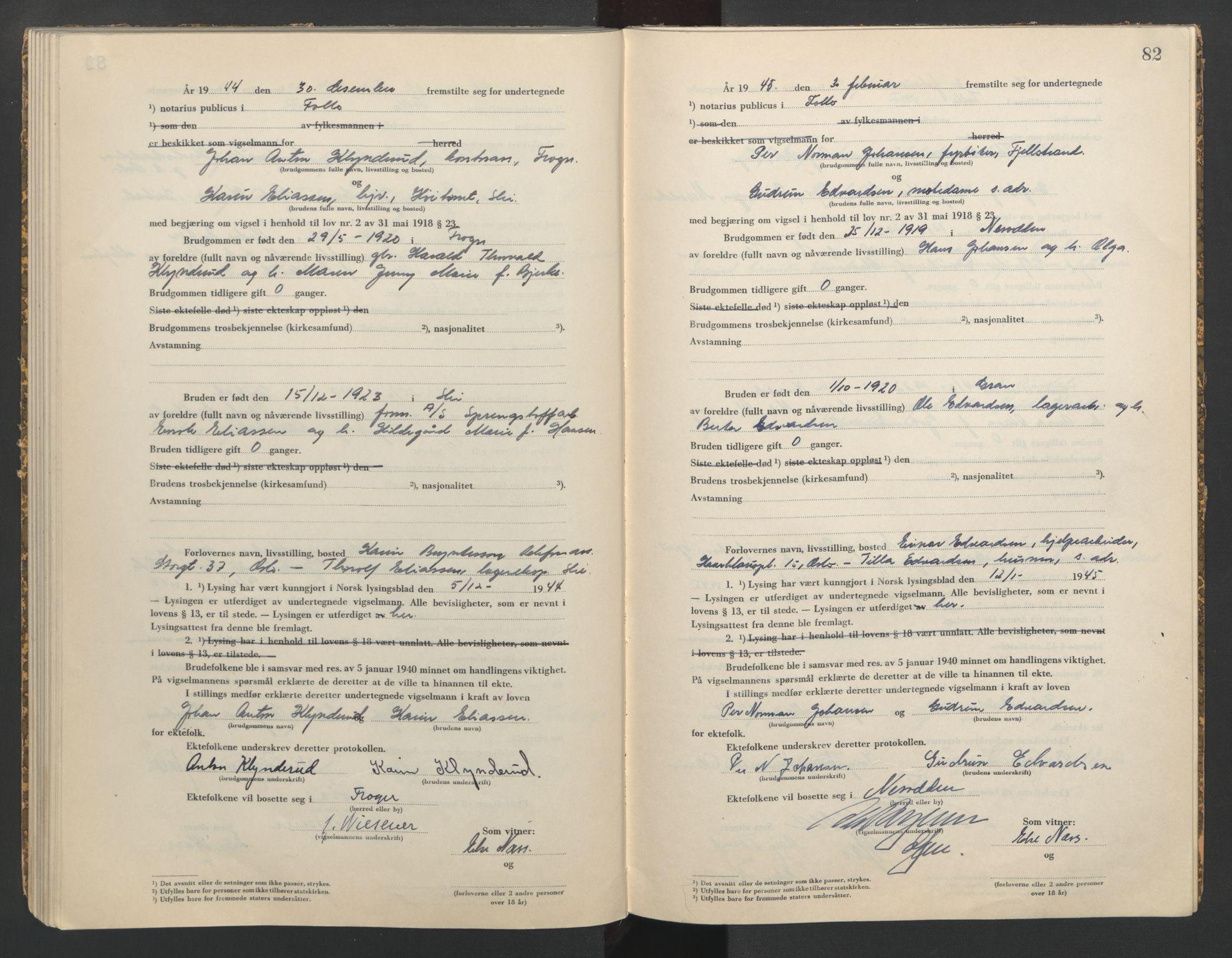 SAO, Follo sorenskriveri, L/La/Lab/L0002: Vigselsbok, 1942-1946, s. 82