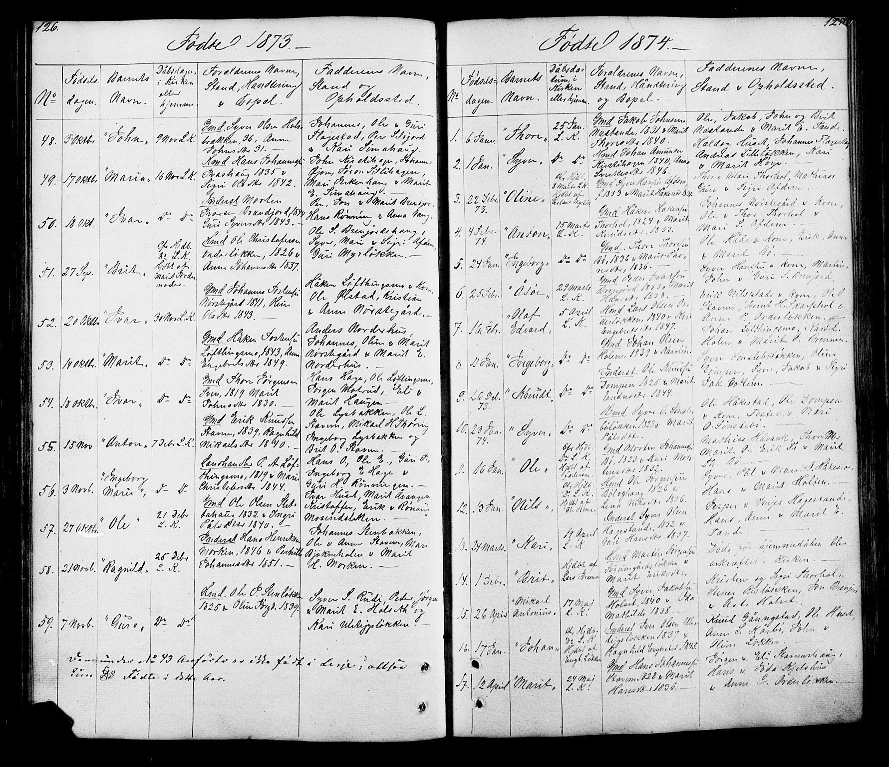 SAH, Lesja prestekontor, Klokkerbok nr. 5, 1850-1894, s. 126-127