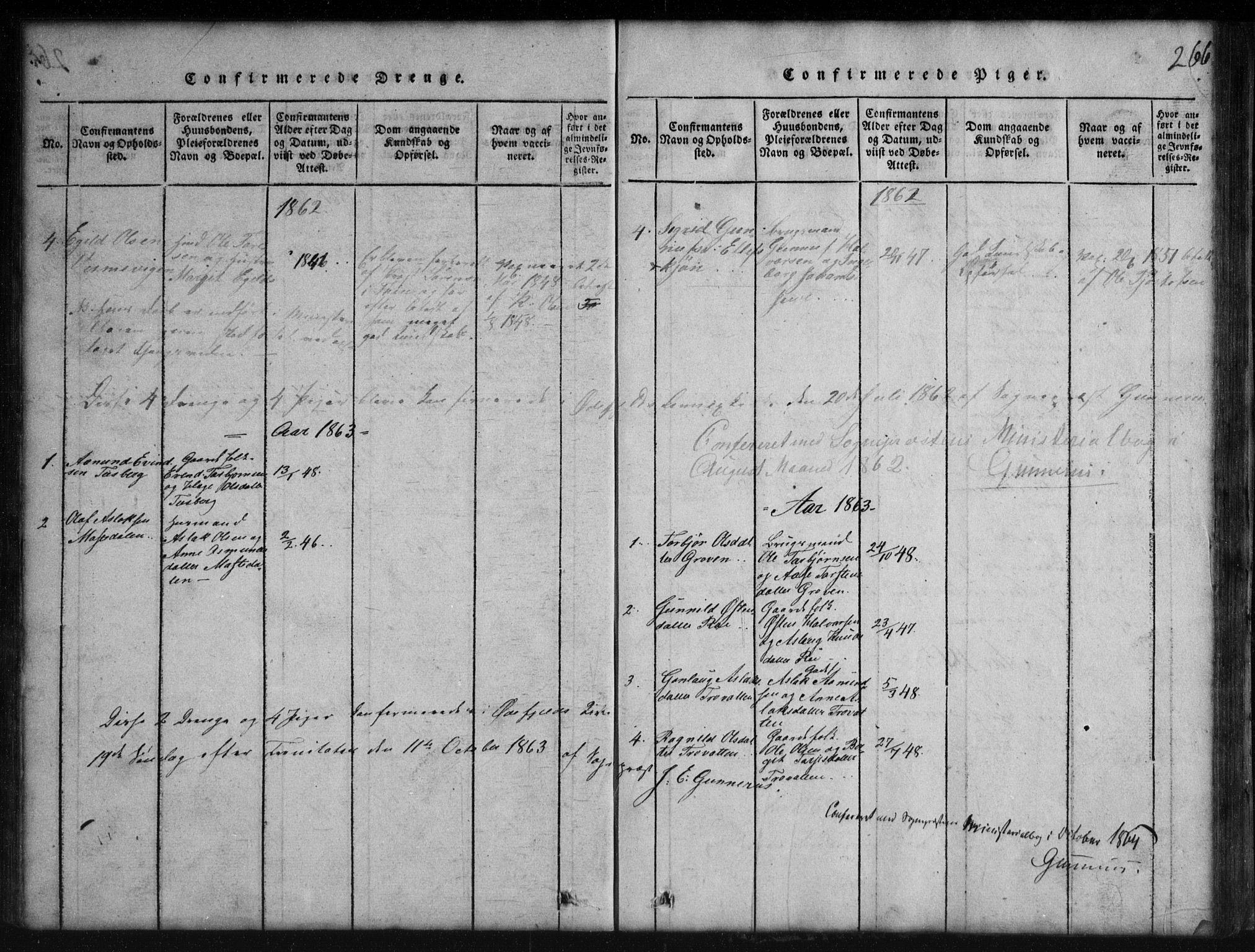 SAKO, Rauland kirkebøker, G/Gb/L0001: Klokkerbok nr. II 1, 1815-1886, s. 266