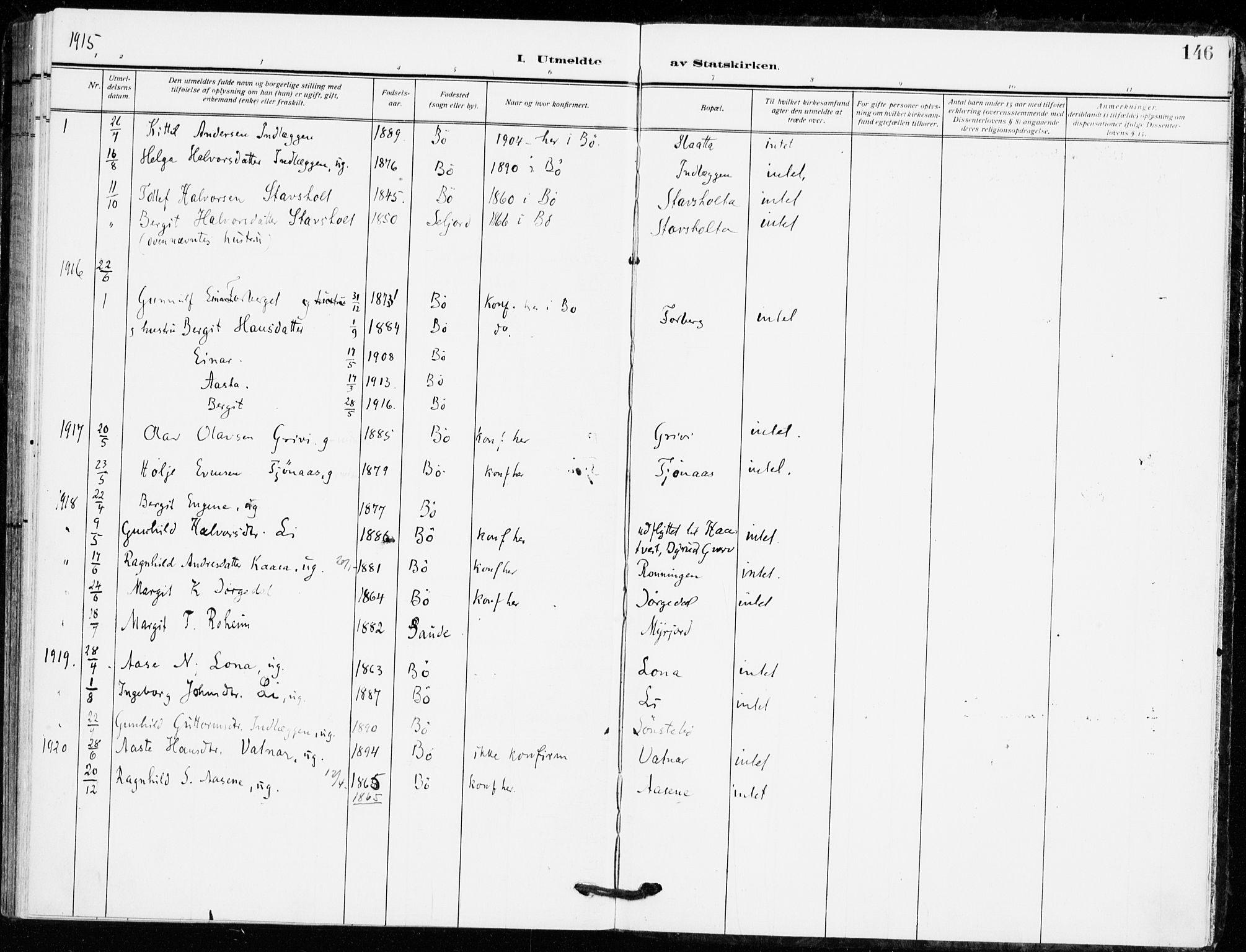 SAKO, Bø kirkebøker, F/Fa/L0013: Ministerialbok nr. 13, 1909-1921, s. 146