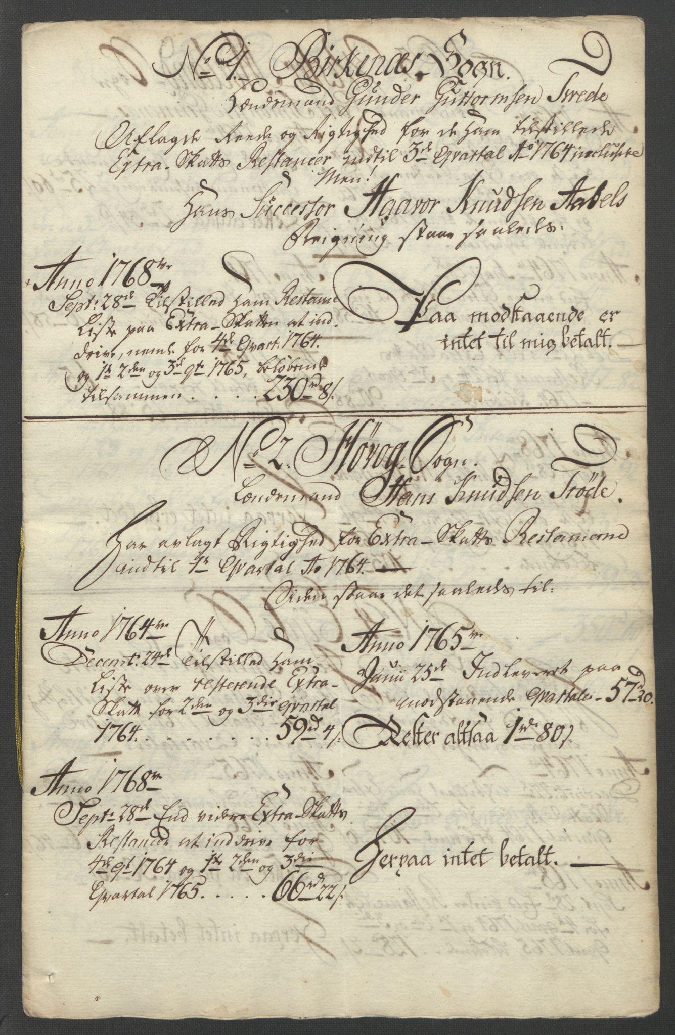 RA, Rentekammeret inntil 1814, Reviderte regnskaper, Fogderegnskap, R39/L2424: Ekstraskatten Nedenes, 1762-1767, s. 157