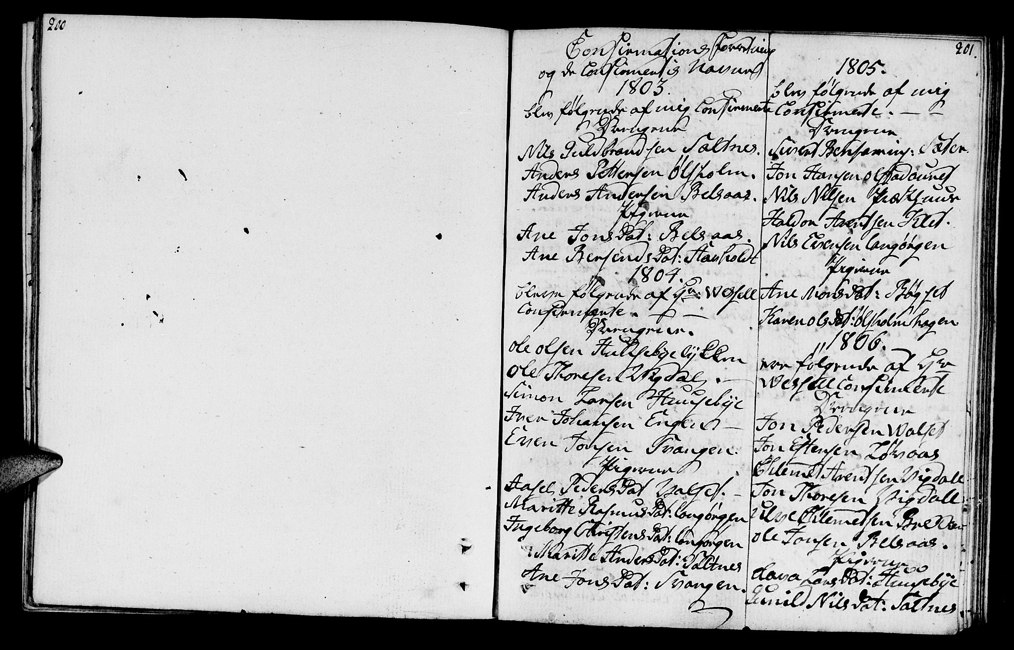 SAT, Ministerialprotokoller, klokkerbøker og fødselsregistre - Sør-Trøndelag, 666/L0785: Ministerialbok nr. 666A03, 1803-1816, s. 200-201