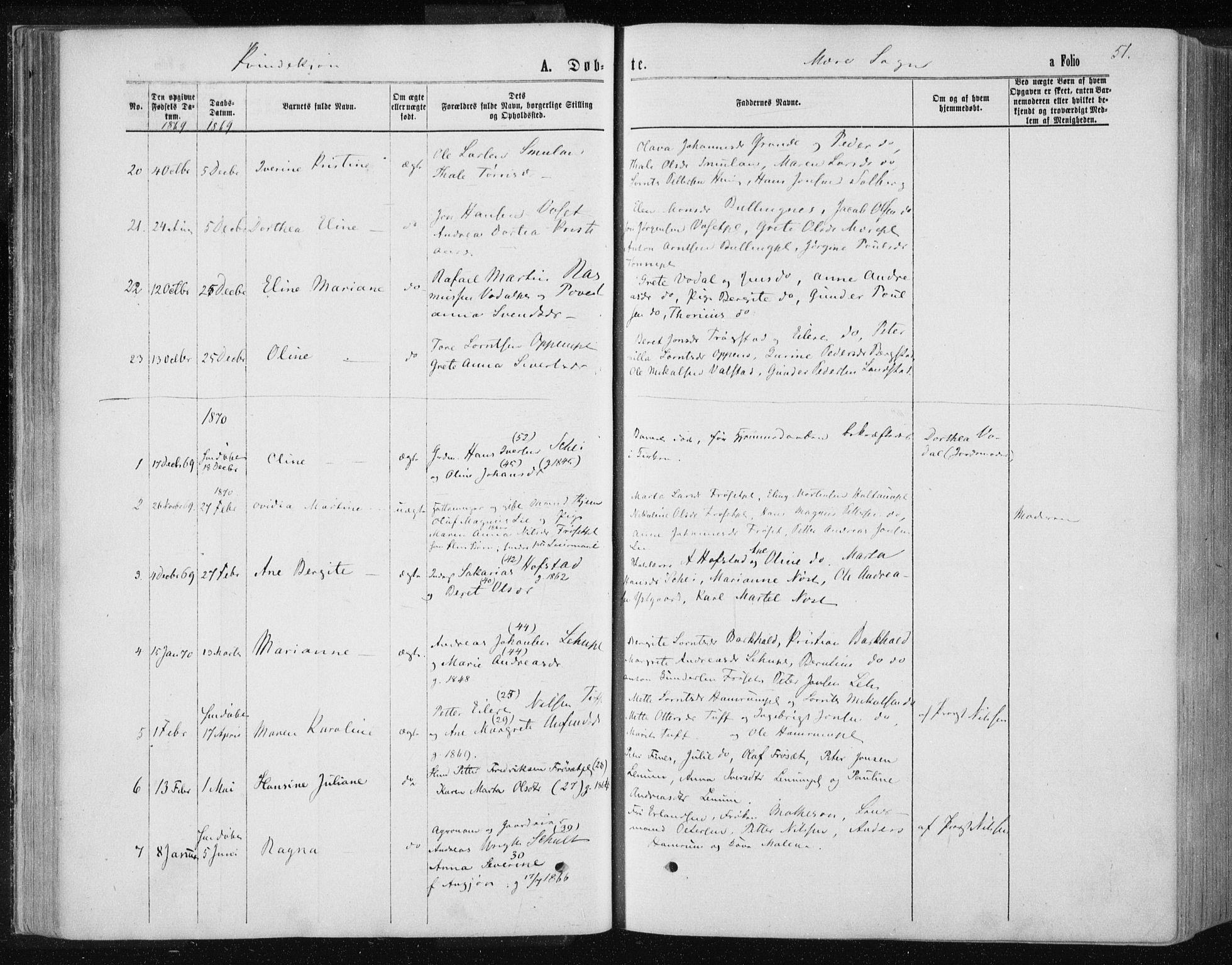 SAT, Ministerialprotokoller, klokkerbøker og fødselsregistre - Nord-Trøndelag, 735/L0345: Ministerialbok nr. 735A08 /1, 1863-1872, s. 51
