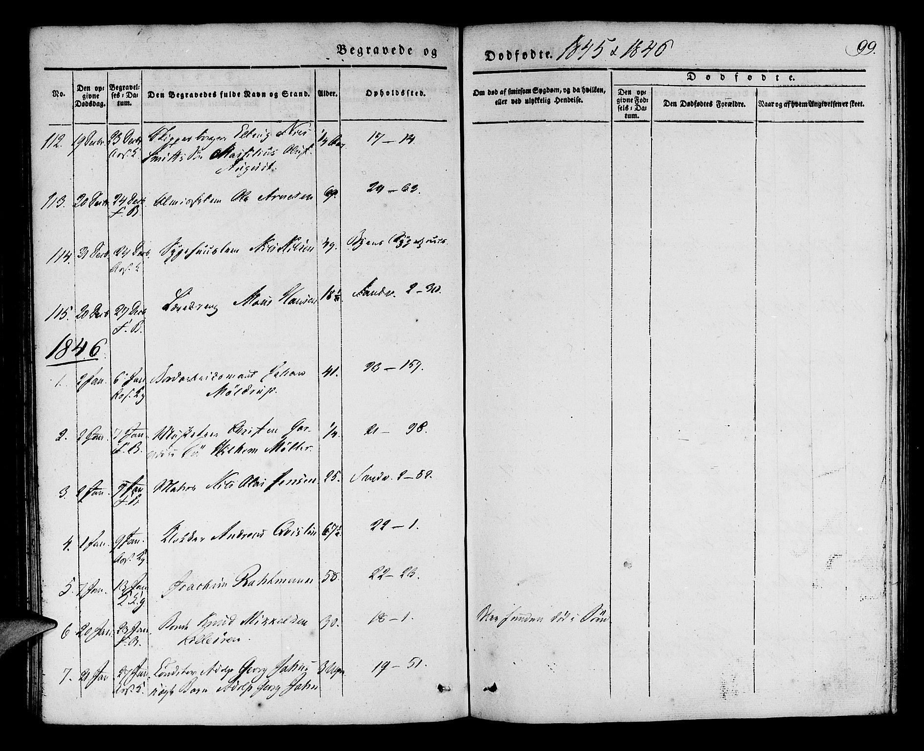 SAB, Korskirken Sokneprestembete, H/Haa/L0043: Ministerialbok nr. E 1, 1834-1848, s. 99