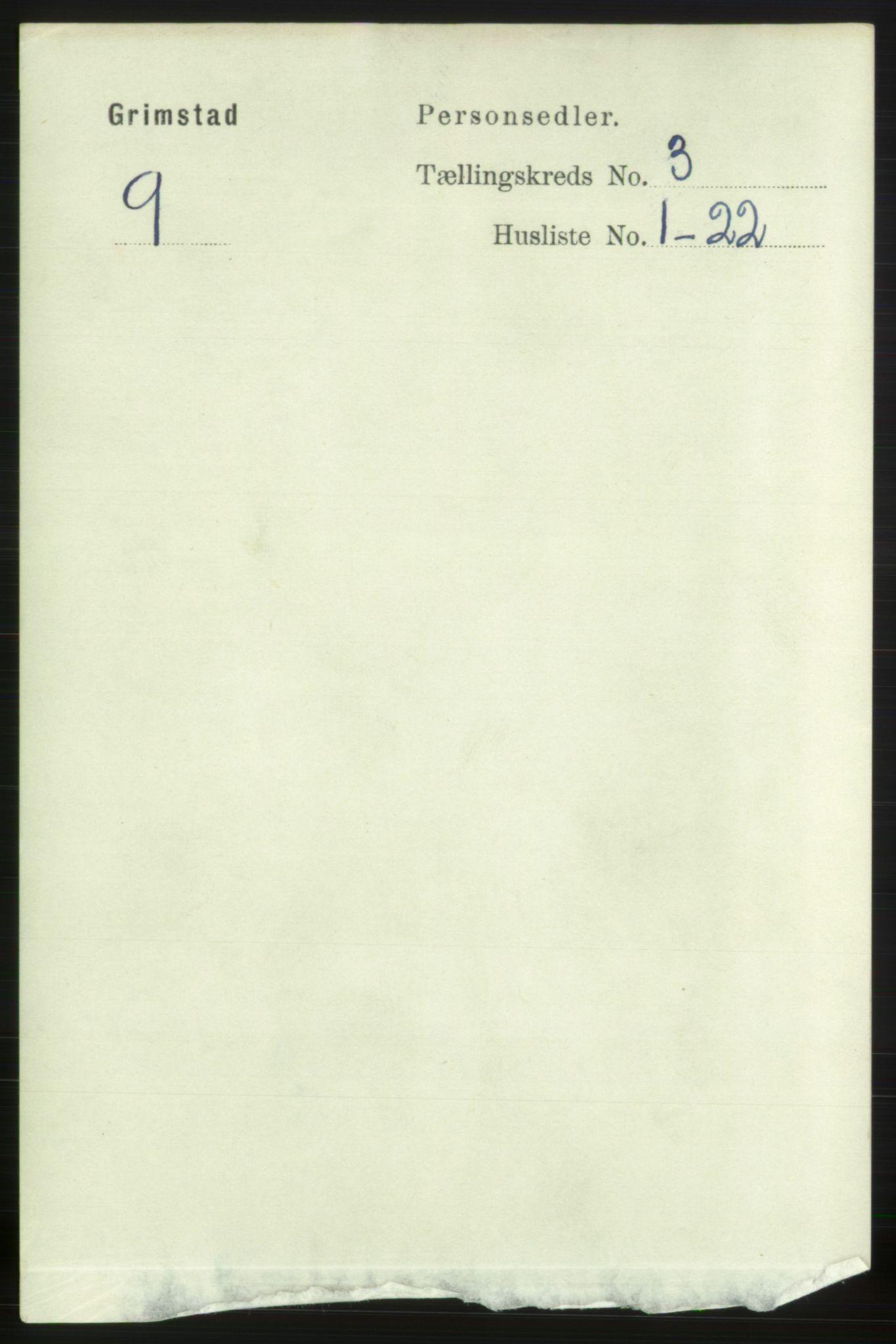 RA, Folketelling 1891 for 0904 Grimstad kjøpstad, 1891, s. 1995
