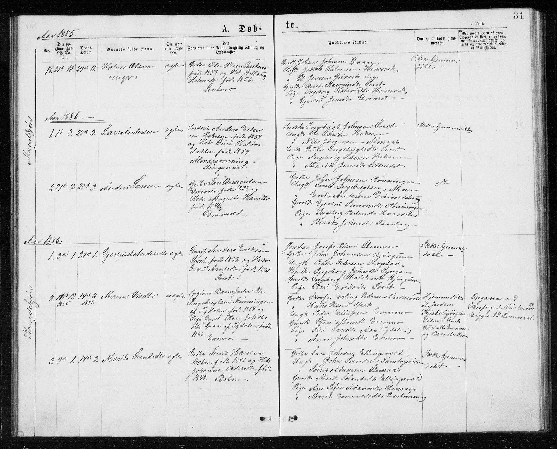 SAT, Ministerialprotokoller, klokkerbøker og fødselsregistre - Sør-Trøndelag, 685/L0977: Klokkerbok nr. 685C02, 1879-1890, s. 31